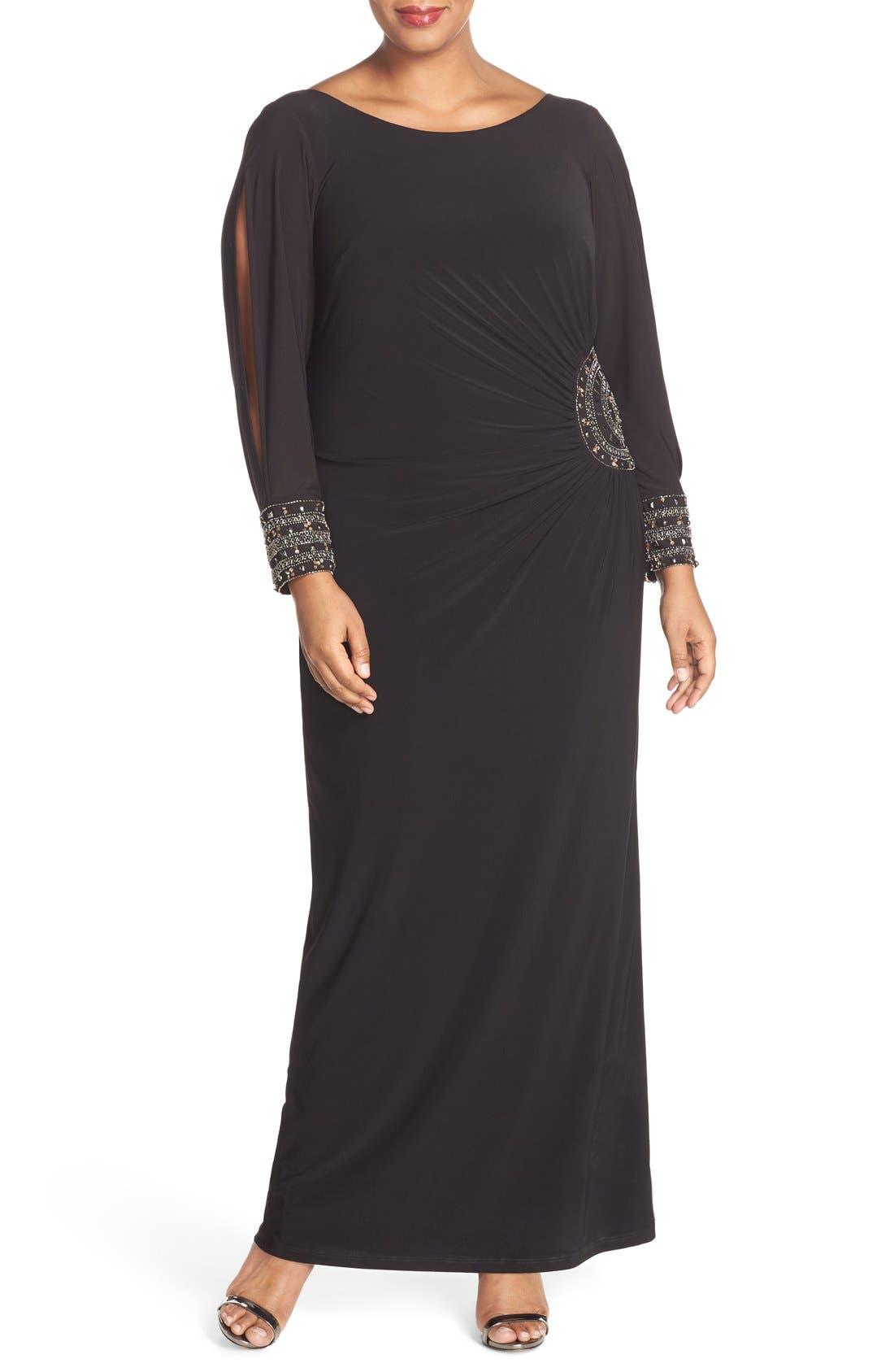 Embellished Stretch Jersey Long Dress,                             Main thumbnail 1, color,                             BLACK/ GOLD