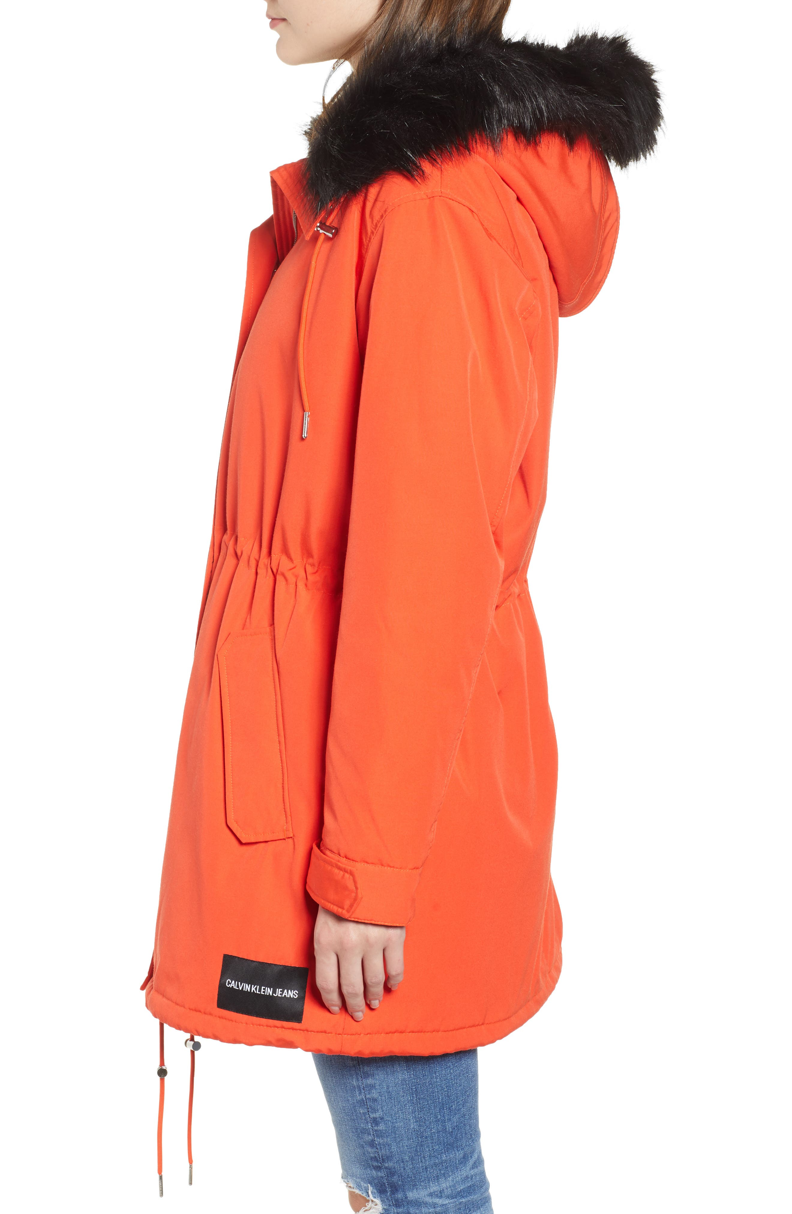 Faux Fur Trim Parka,                             Alternate thumbnail 4, color,                             600