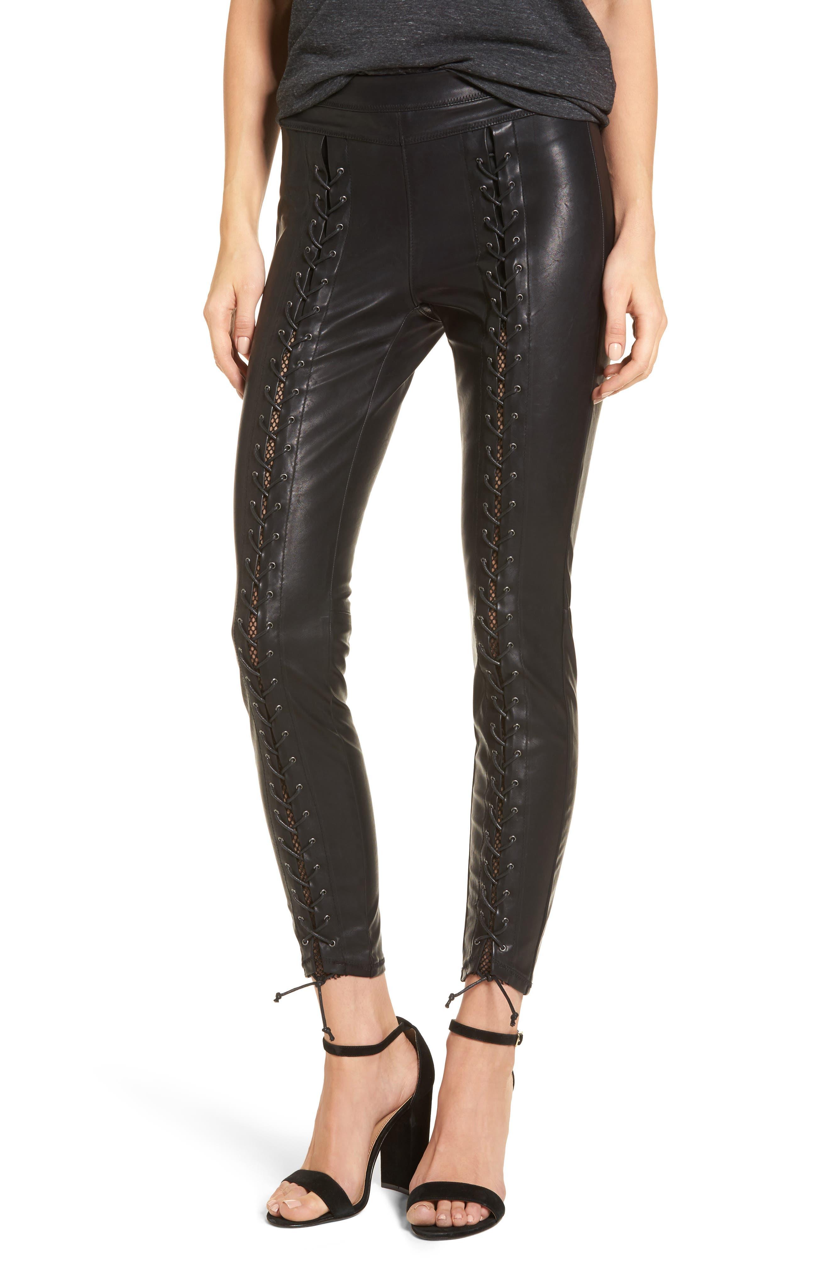 Lace-Up Faux Leather Pants,                             Main thumbnail 1, color,                             007