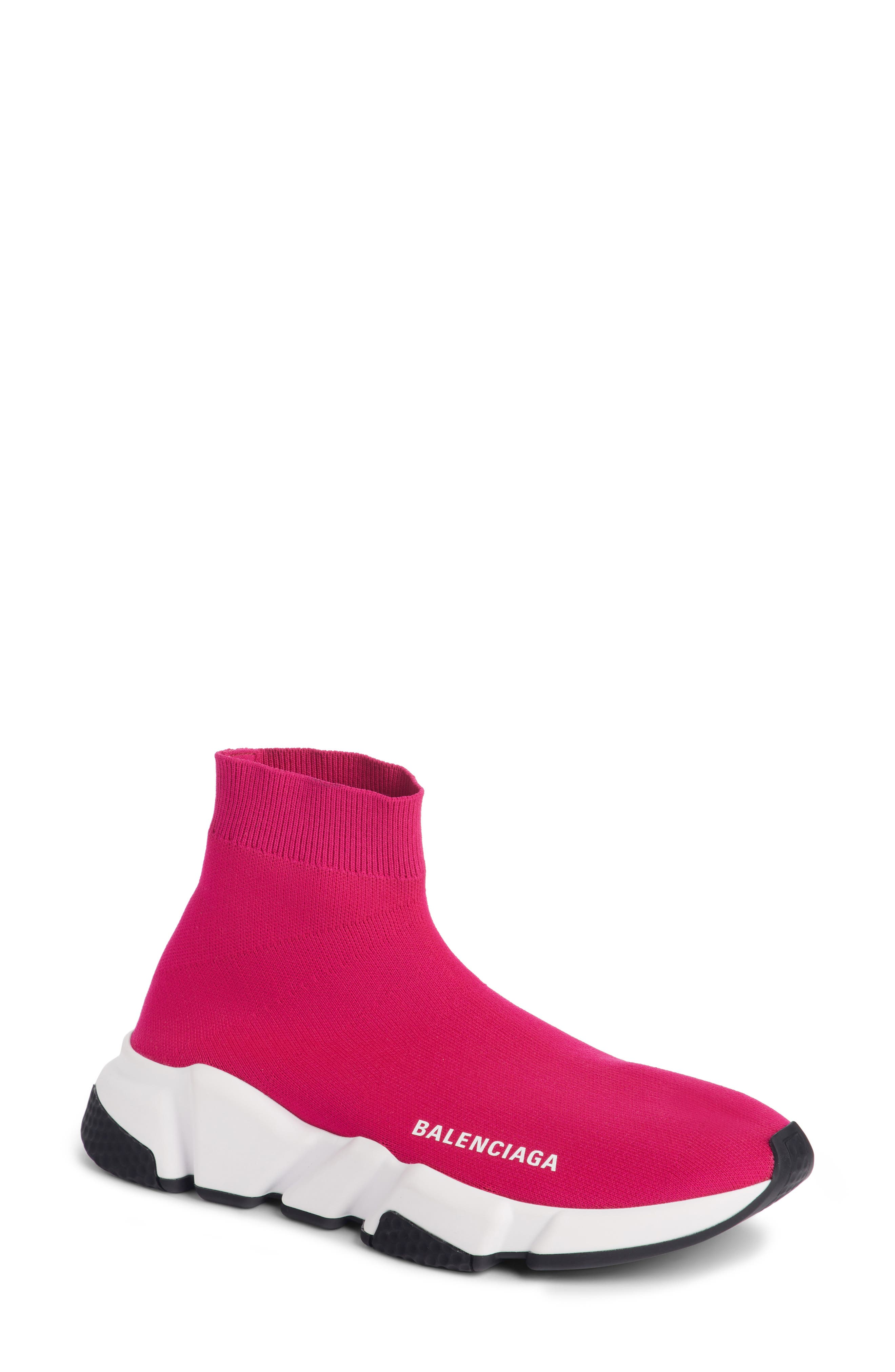 Speed Sock Stretch-Knit Sneakers in Fuschia Rose
