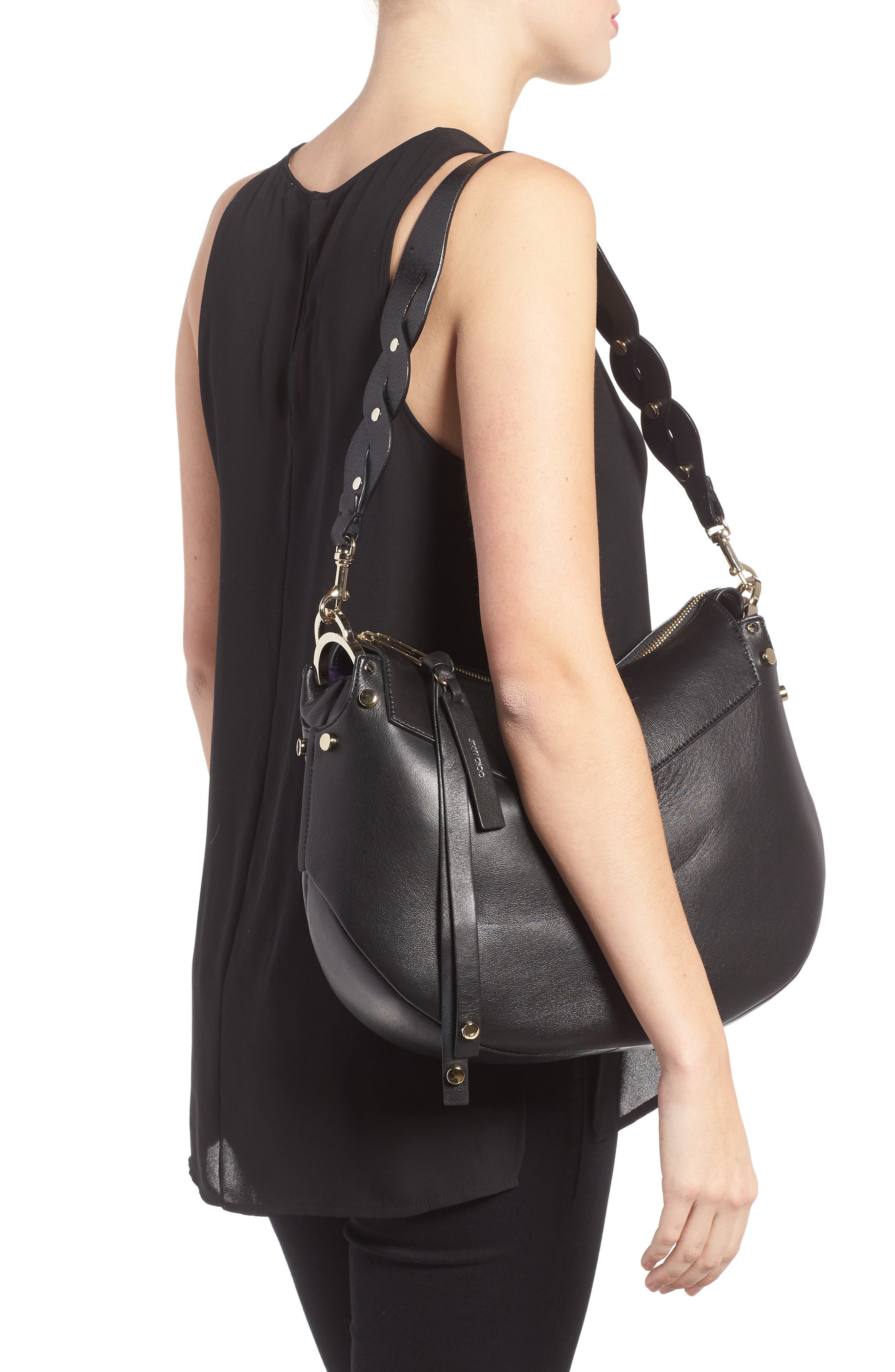 Artie Nappa Leather Hobo Bag,                             Alternate thumbnail 3, color,