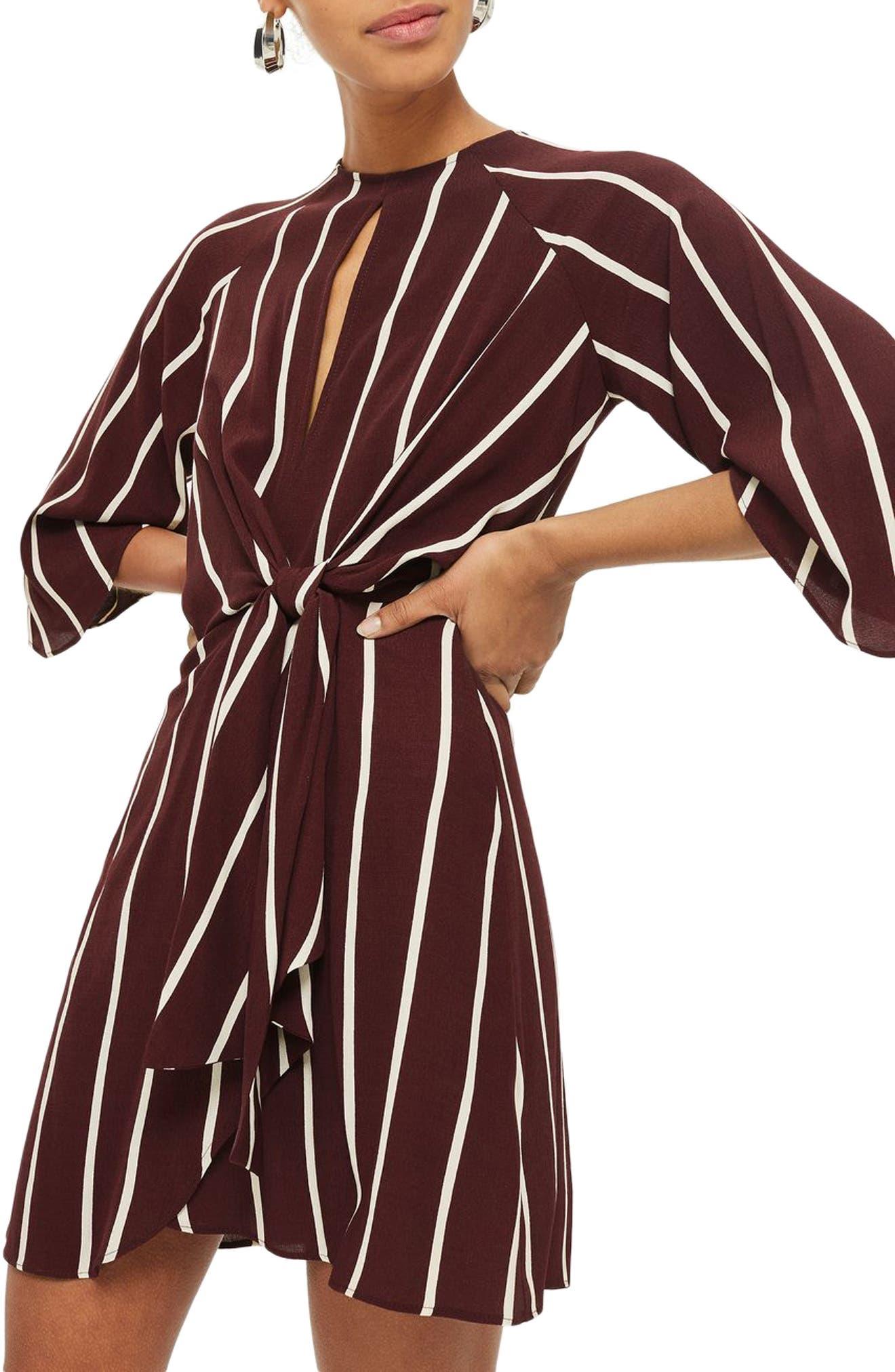 Stripe Knot Front Minidress,                             Main thumbnail 2, color,