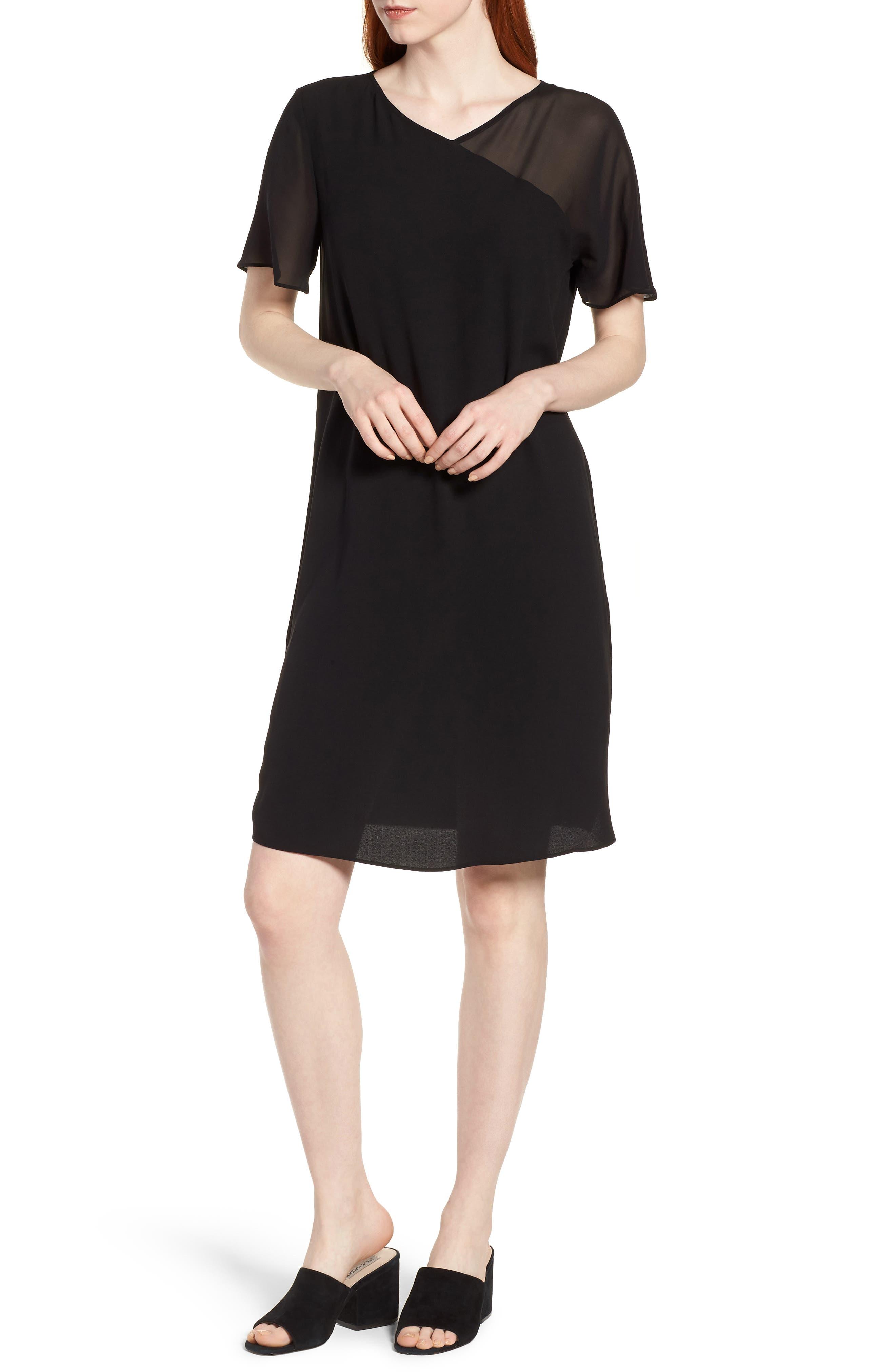 Silk Shift Dress,                         Main,                         color,