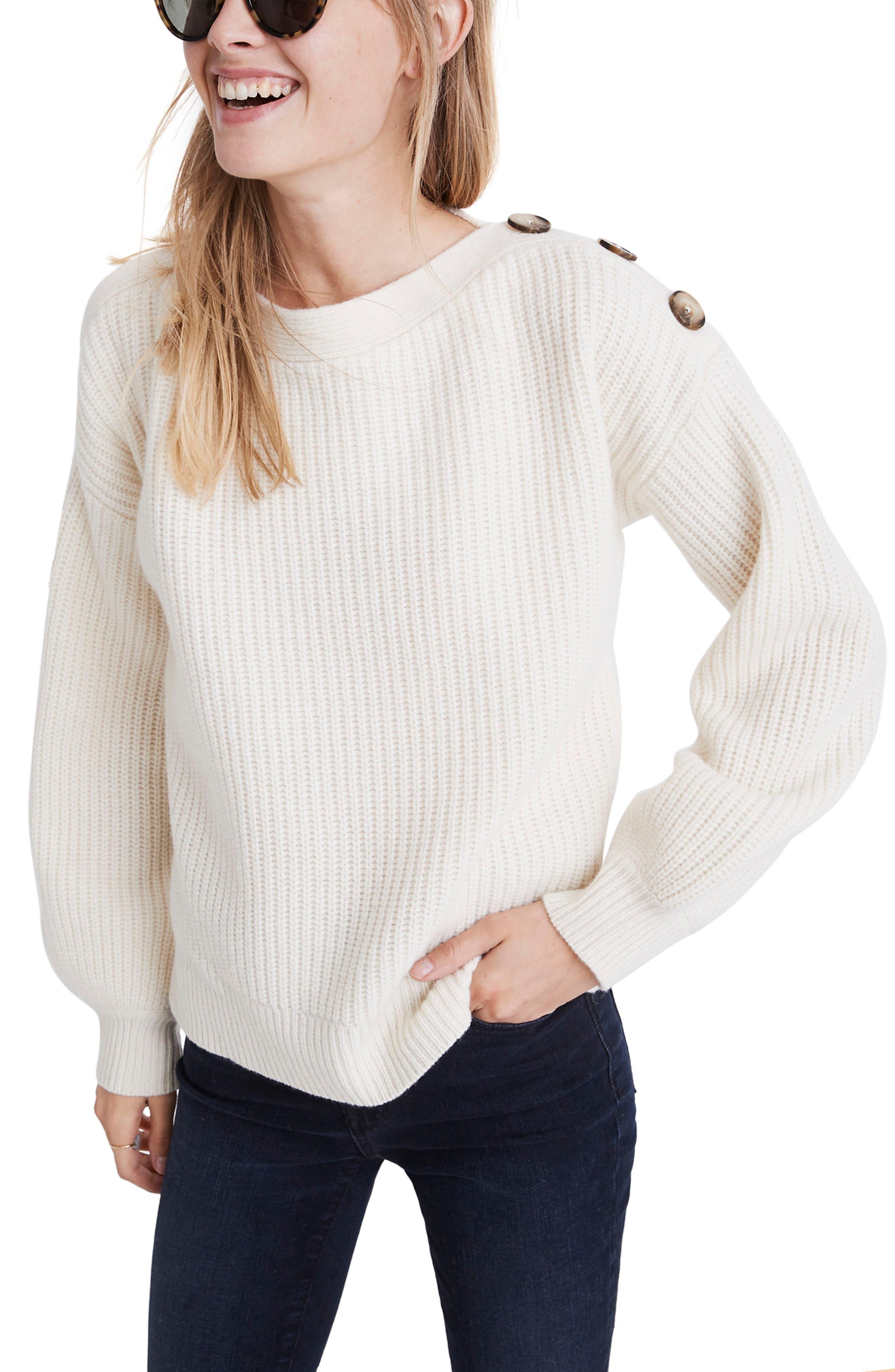 Boat Neck Button Shoulder Sweater,                             Main thumbnail 1, color,                             ANTIQUE CREAM