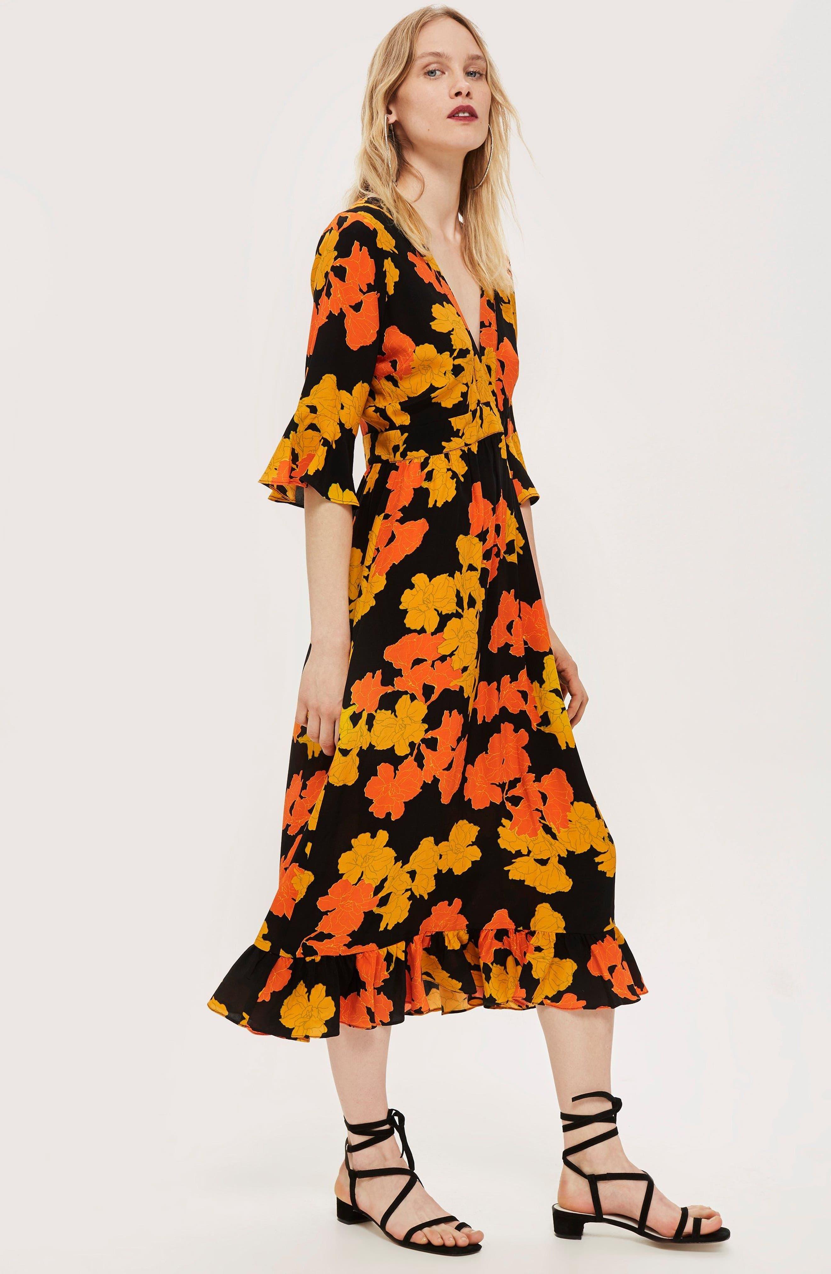 TOPSHOP,                             Bold Floral Midi Dress,                             Alternate thumbnail 7, color,                             001