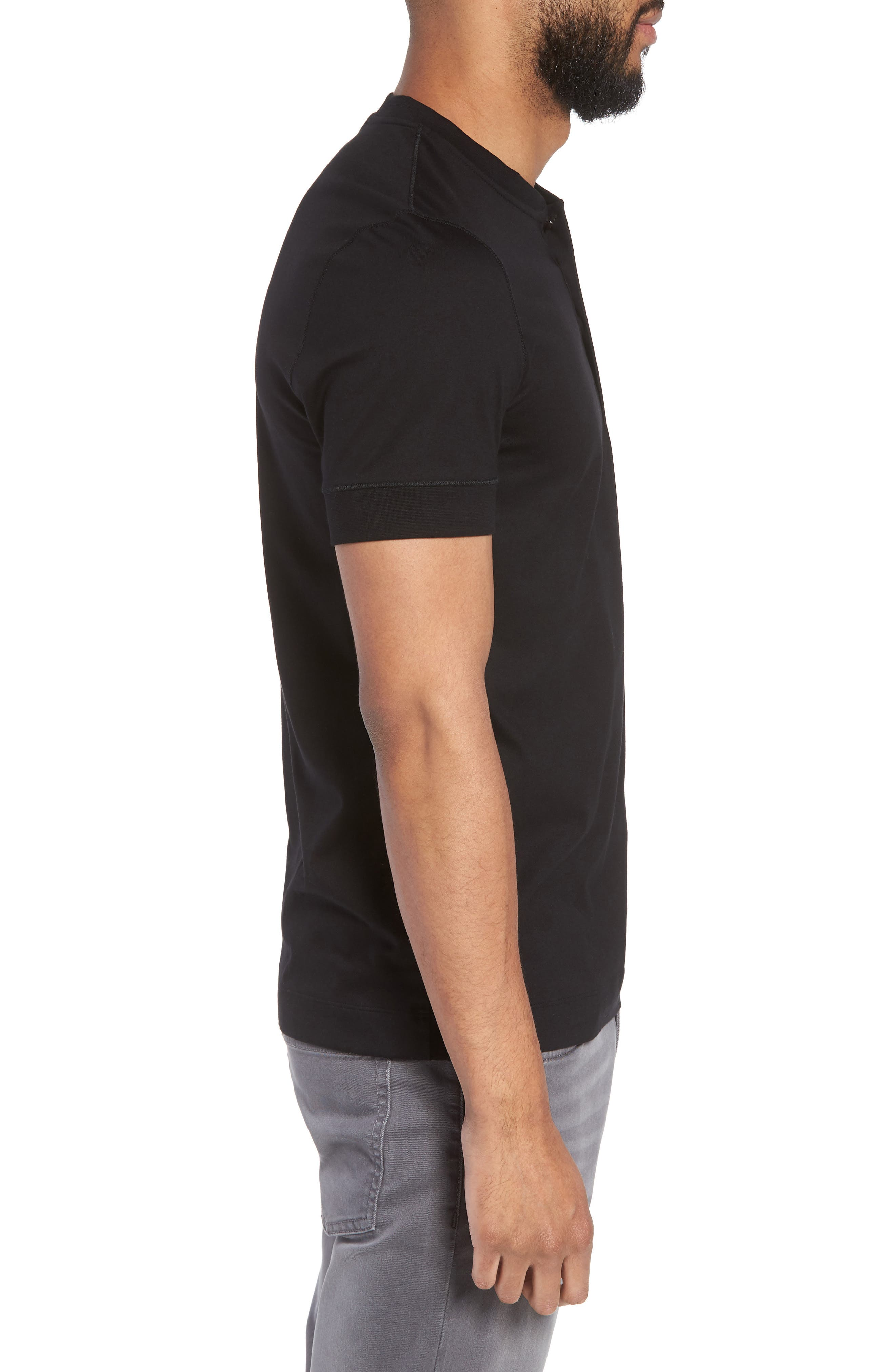 Tiller Short Sleeve Henley,                             Alternate thumbnail 3, color,                             BLACK