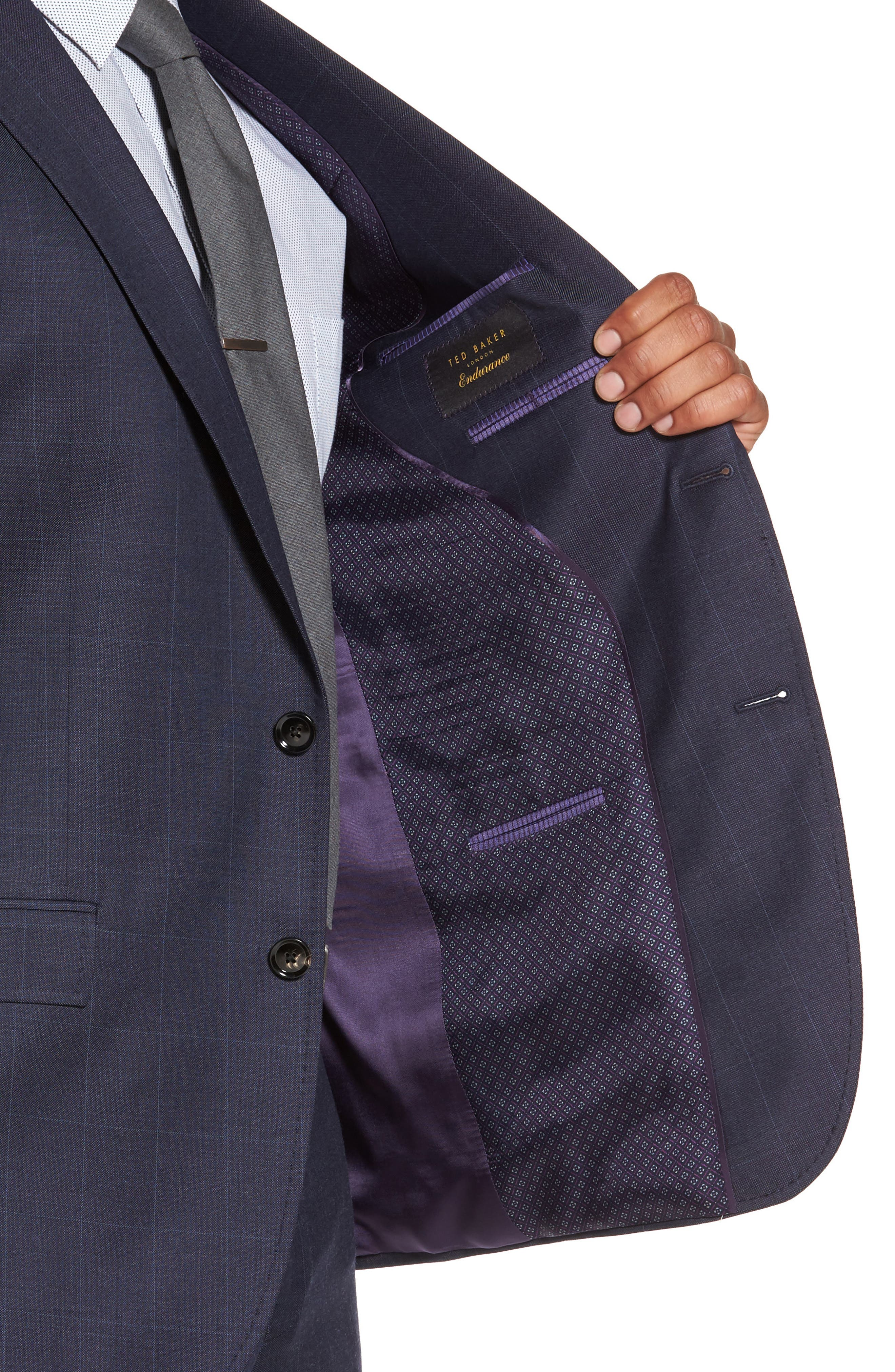 Jay Trim Fit Windowpane Wool Suit,                             Alternate thumbnail 4, color,