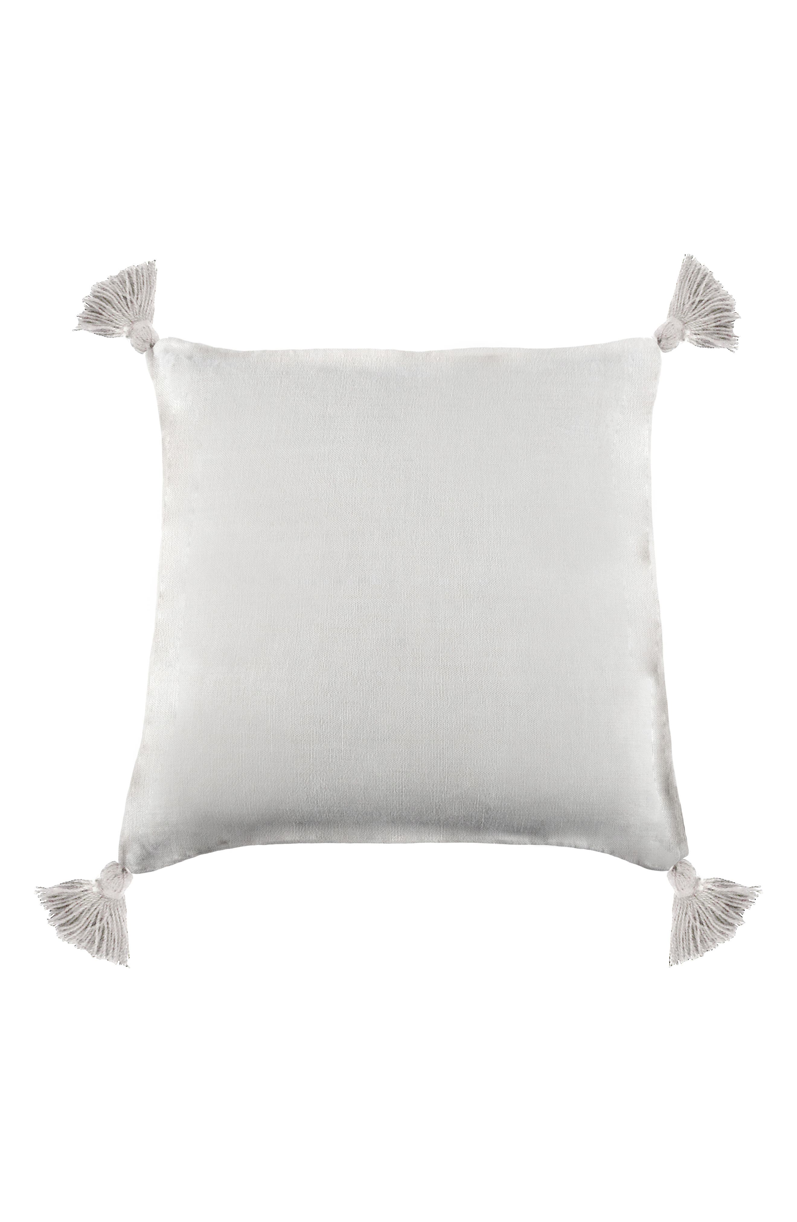 POM POM AT HOME,                             Montauk Tassel Accent Pillow,                             Main thumbnail 1, color,                             WHITE