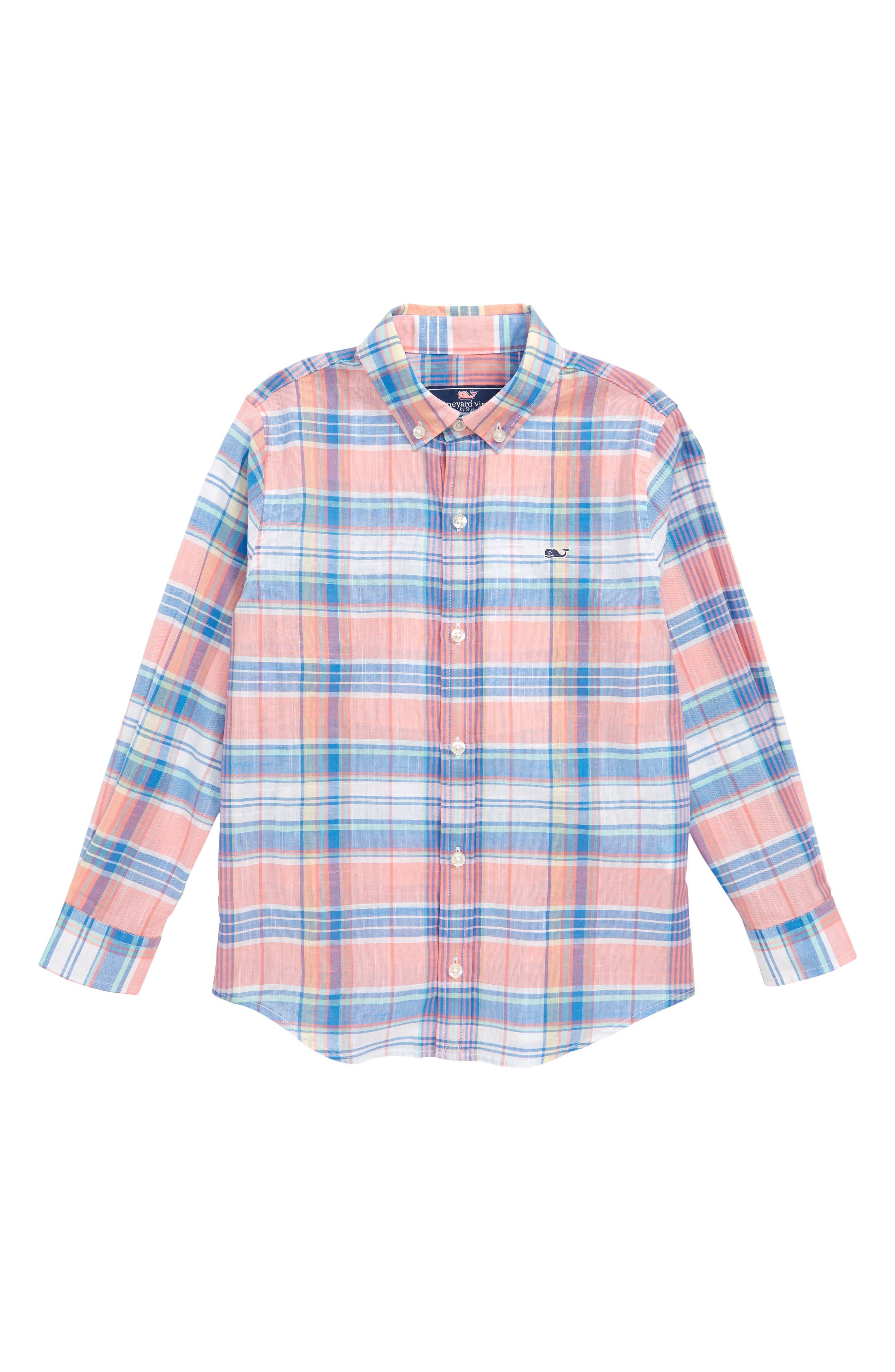 Smith Point Plaid Whale Shirt,                             Main thumbnail 1, color,                             681