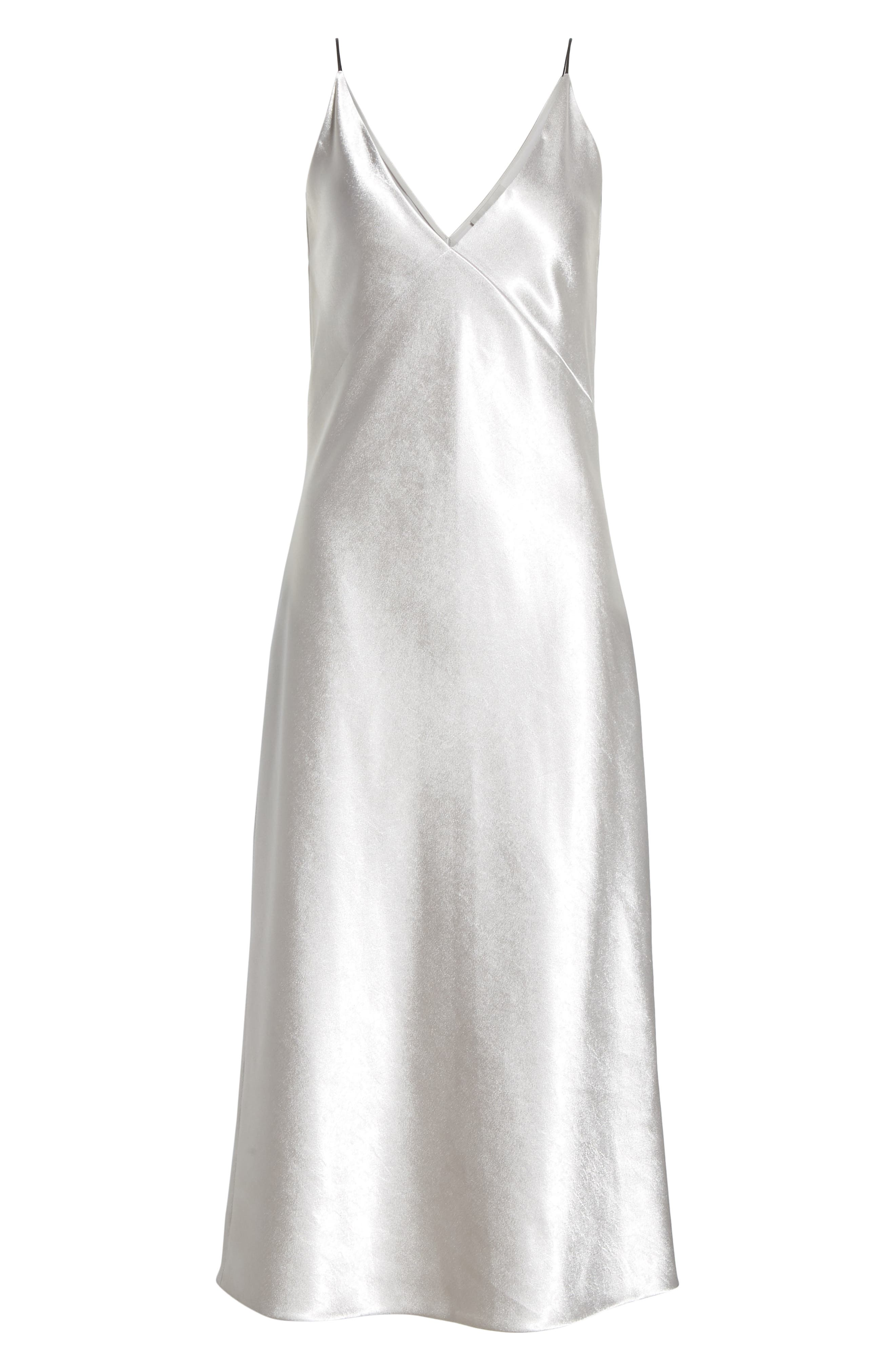 V-neck Bias Cut Dress,                             Alternate thumbnail 7, color,                             SILVER