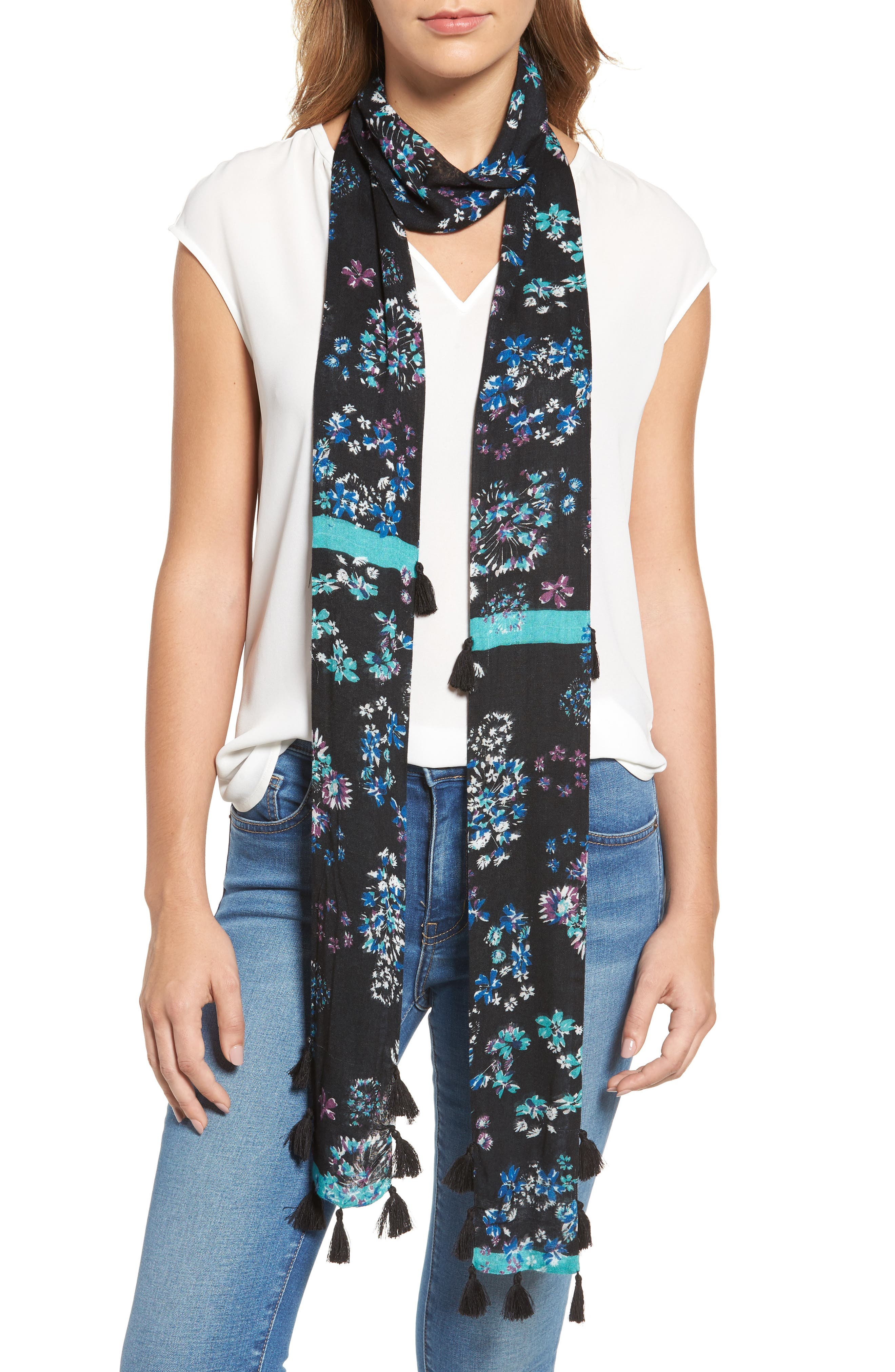 Watercolor Garden Skinny Scarf,                             Main thumbnail 1, color,                             400