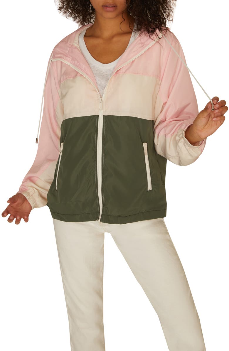 SANCTUARY Neopolitan Colorblock Zip Front Hooded Jacket, Main, color, MULTI COLORED