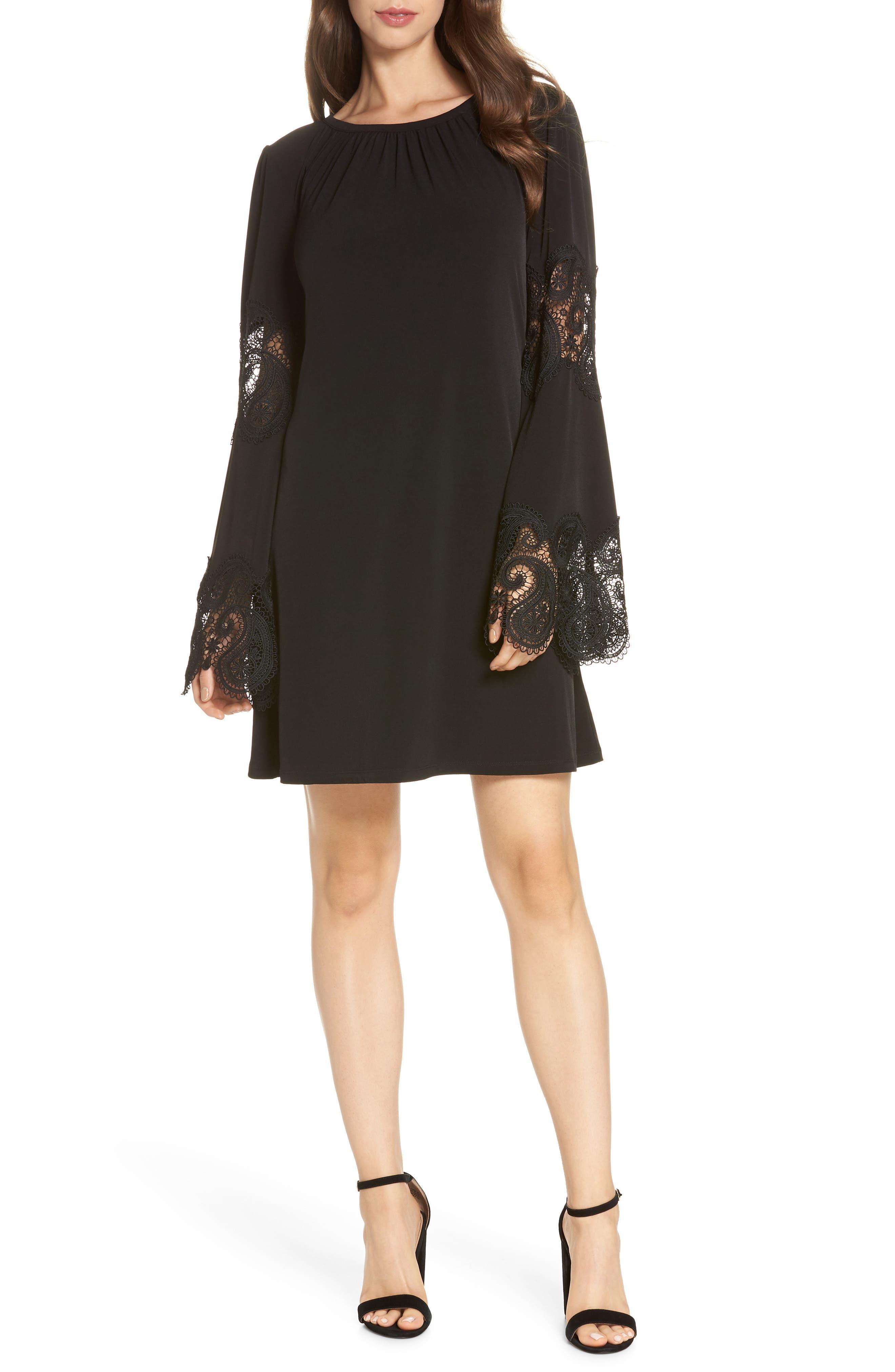 MICHAEL MICHAEL KORS Lace Inset Bell Sleeve Shift Dress, Main, color, 001