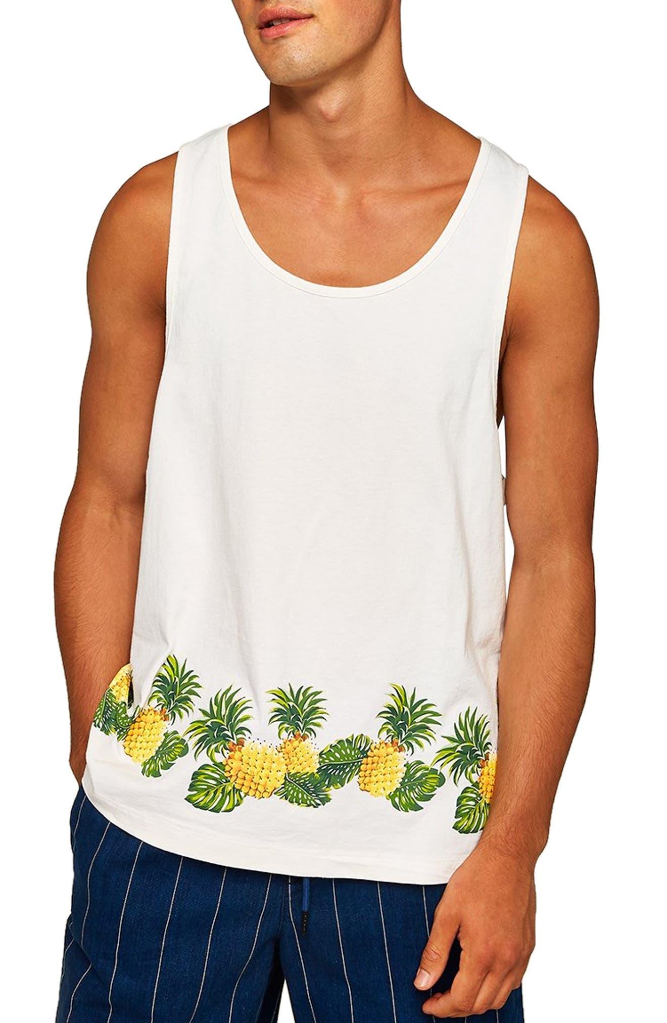 Boxy Fit Pineapple Print Tank,                             Main thumbnail 1, color,                             CREAM MULTI