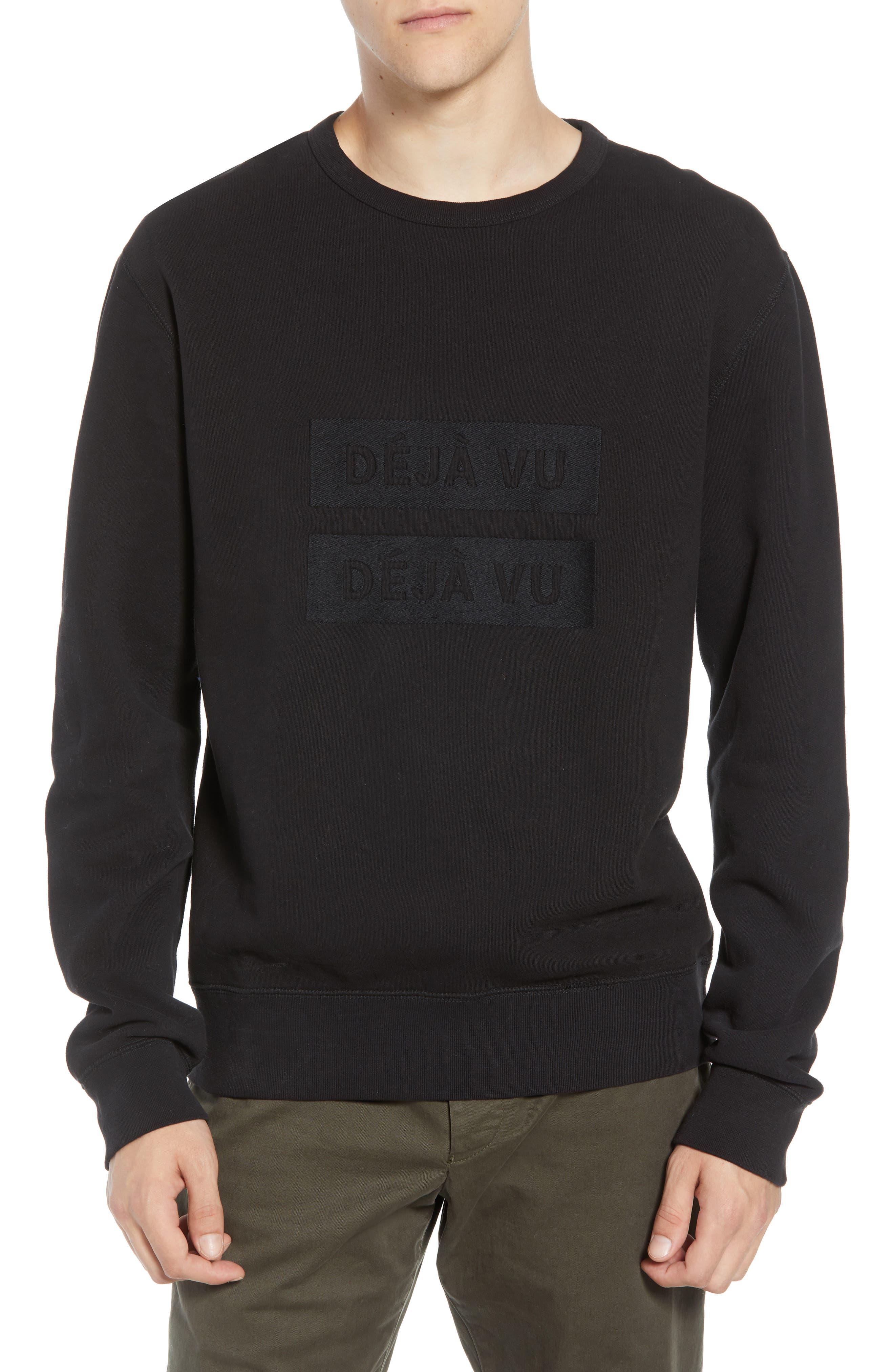 Déjà Vu Sweatshirt,                         Main,                         color, BLACK BLACK