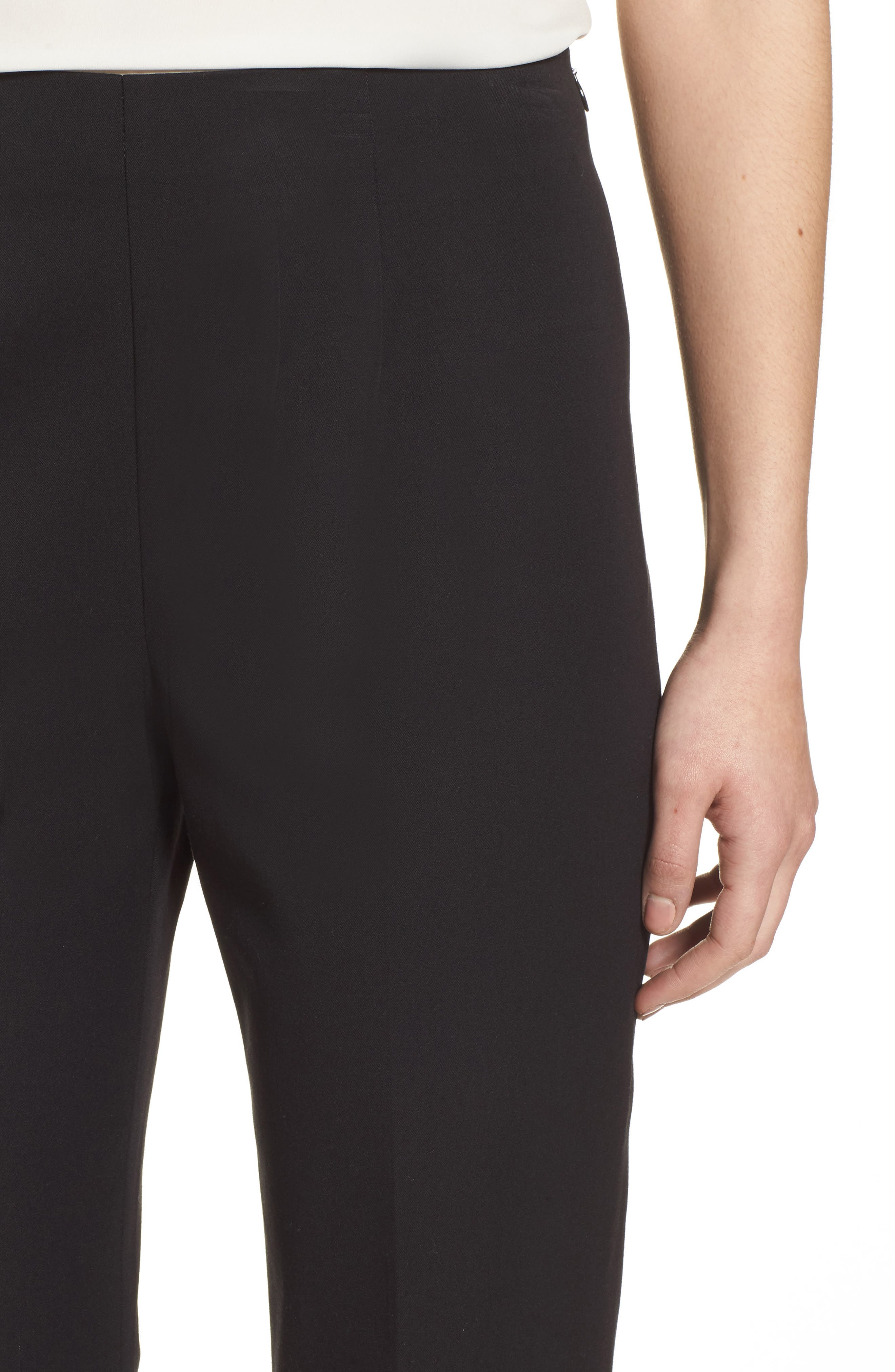 MING WANG,                             Woven Slim Ankle Pants,                             Alternate thumbnail 4, color,                             BLACK