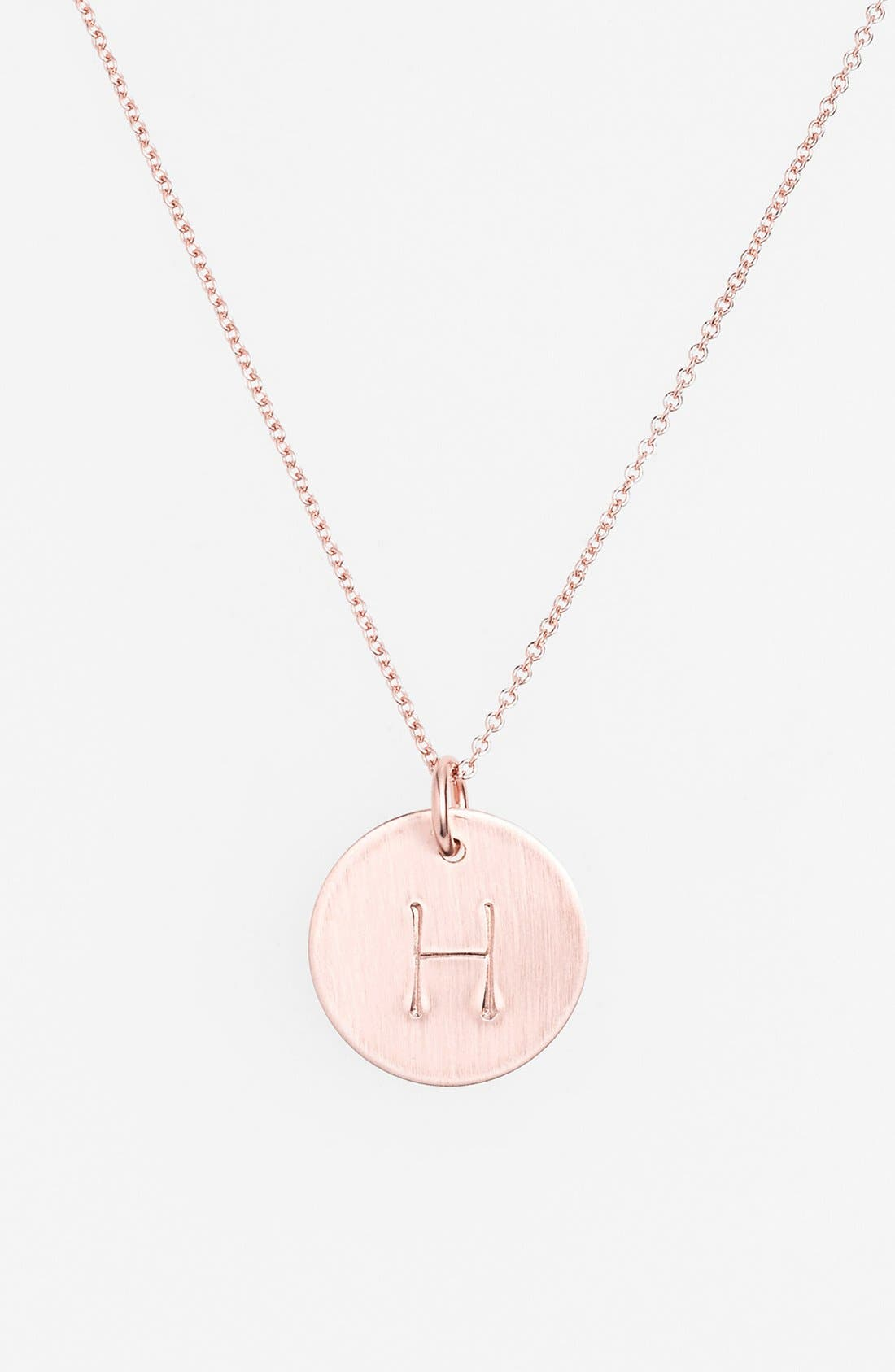 14k-Rose Gold Fill Initial Disc Necklace,                             Main thumbnail 8, color,