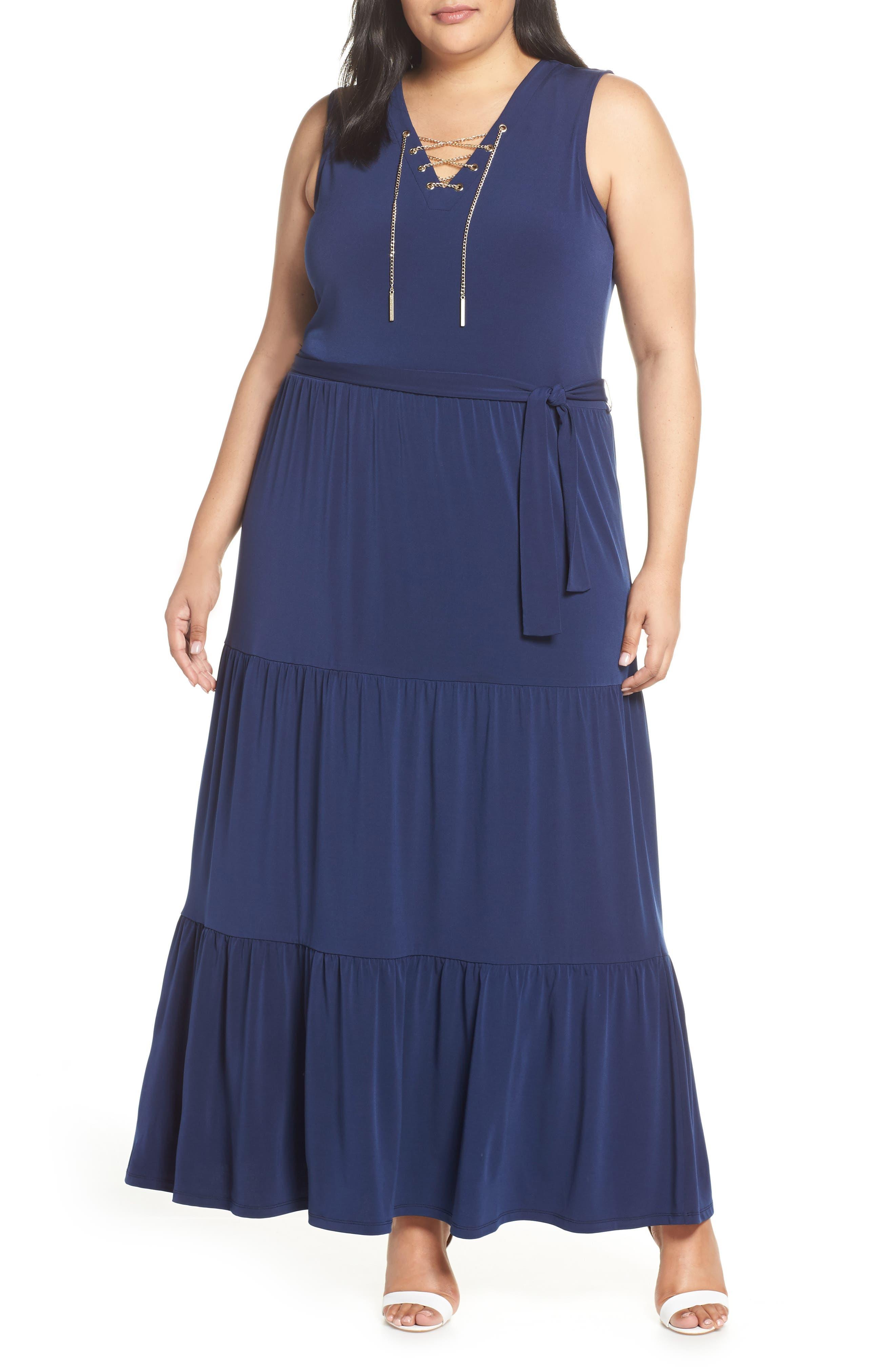 Plus Size Michael Michael Kors Lace Up Stretch Knit Maxi Dress, Blue