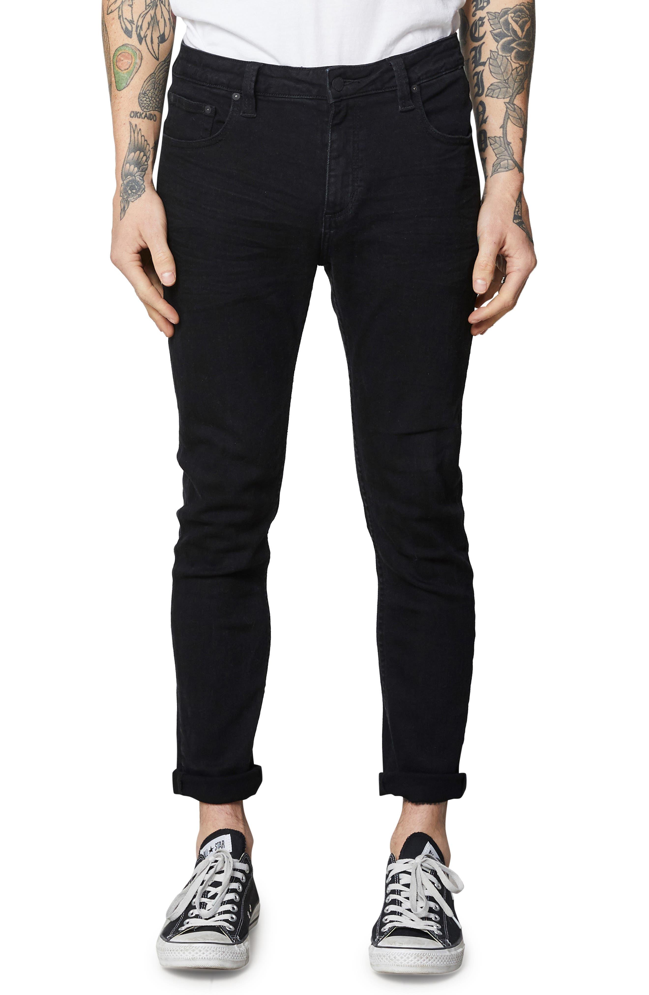 Rollies Slim Fit Jeans,                             Main thumbnail 1, color,                             BLACK RAVEN