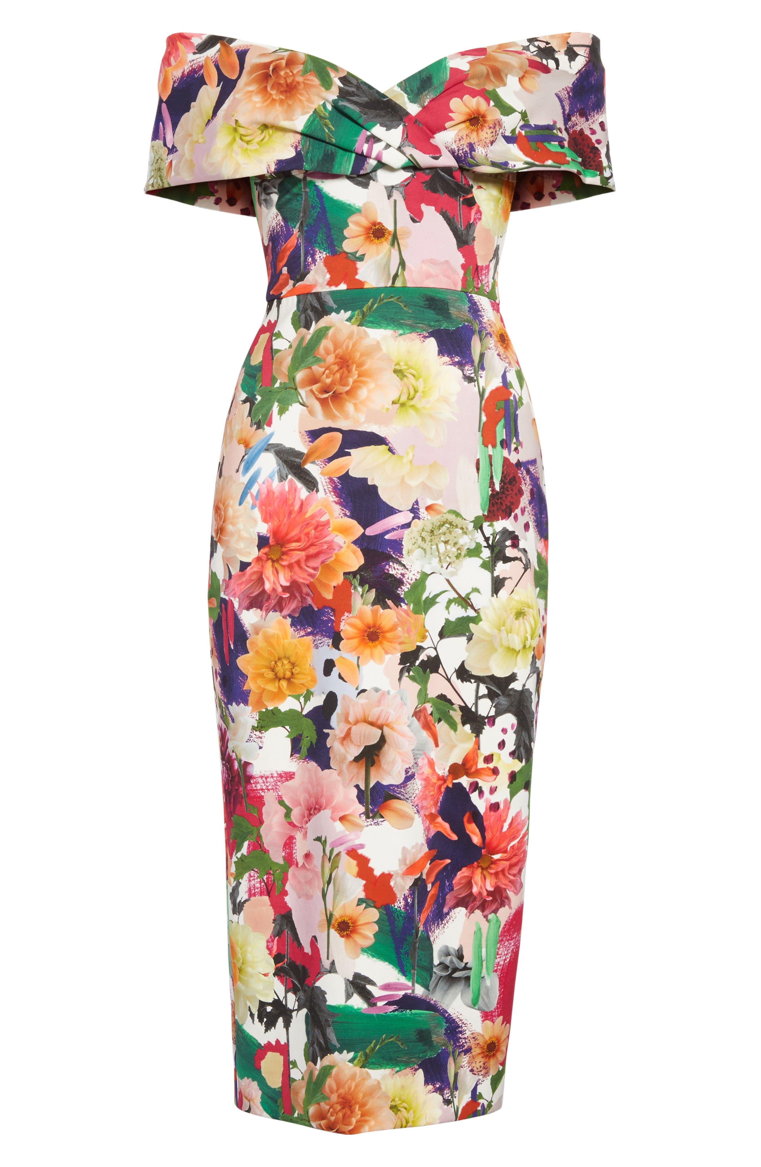 Floral Print Off the Shoulder Sheath Dress,                             Alternate thumbnail 6, color,                             191