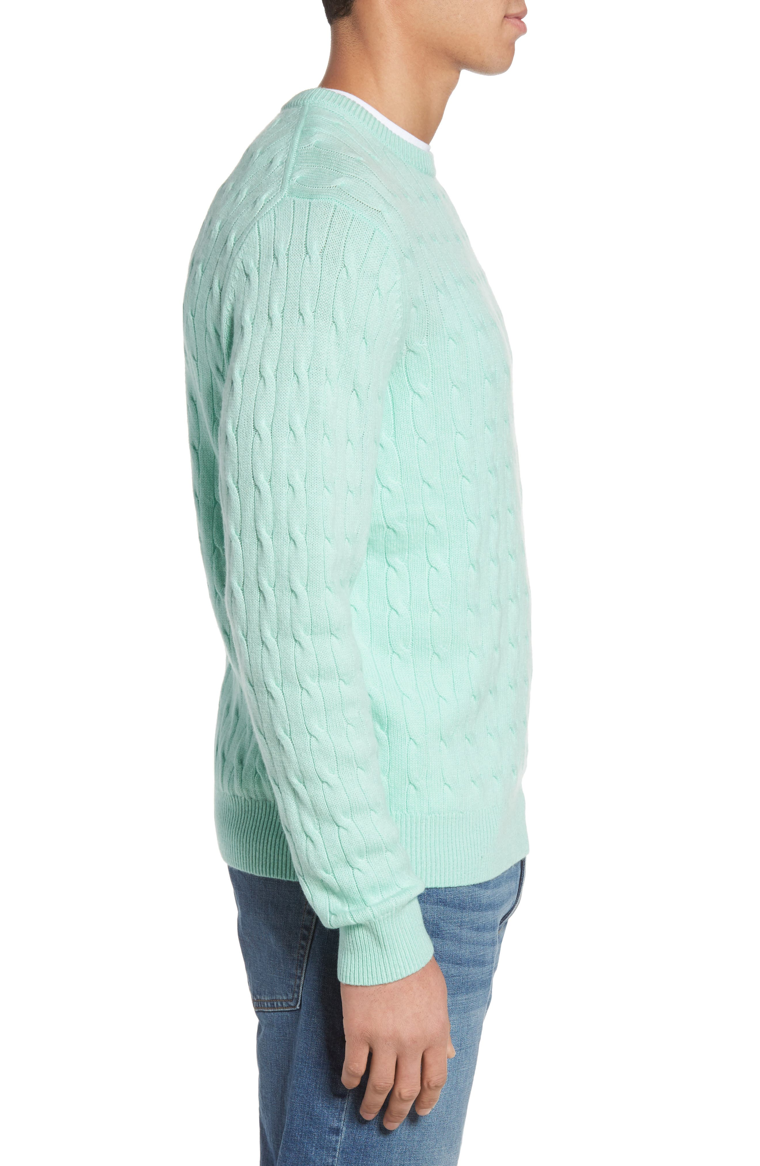 Wool & Cashmere Cable Knit Sweater,                             Alternate thumbnail 3, color,                             301