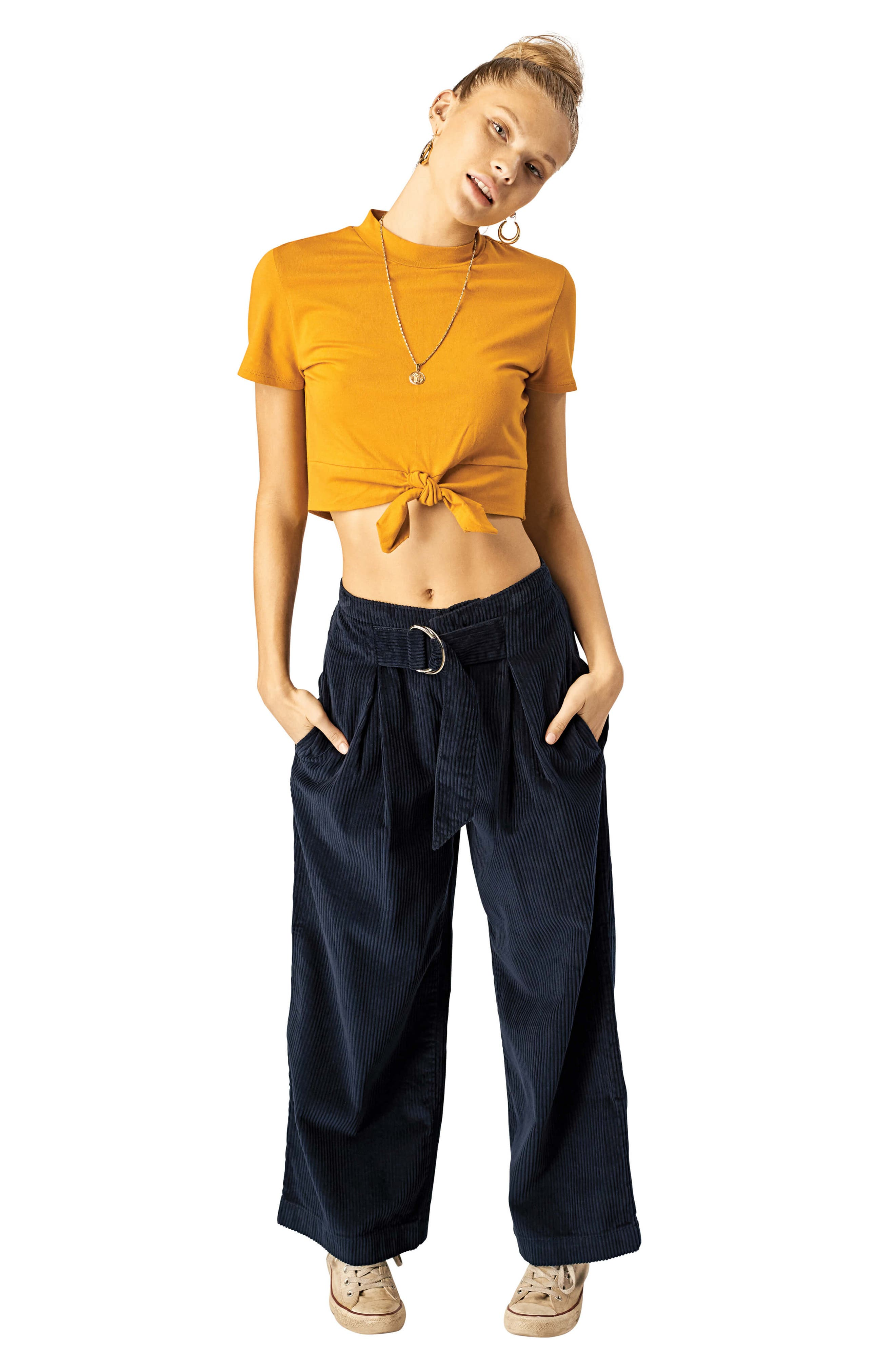 STONE ROW,                             Cut the Cord Corduroy Ankle Wide Leg Pants,                             Alternate thumbnail 4, color,                             SEA NAVY
