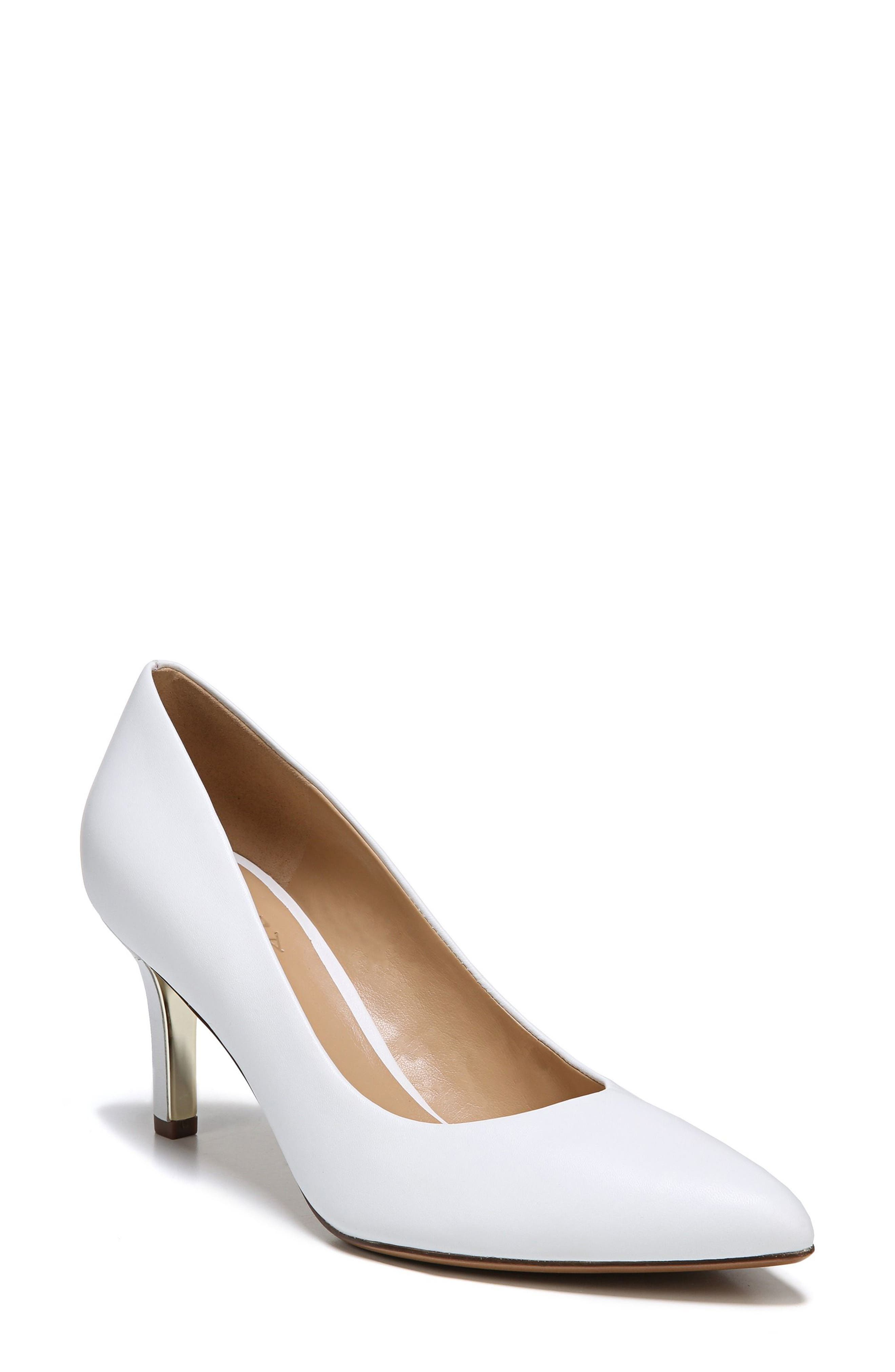 Natalie Pointy Toe Pump,                             Main thumbnail 1, color,                             WHITE LEATHER
