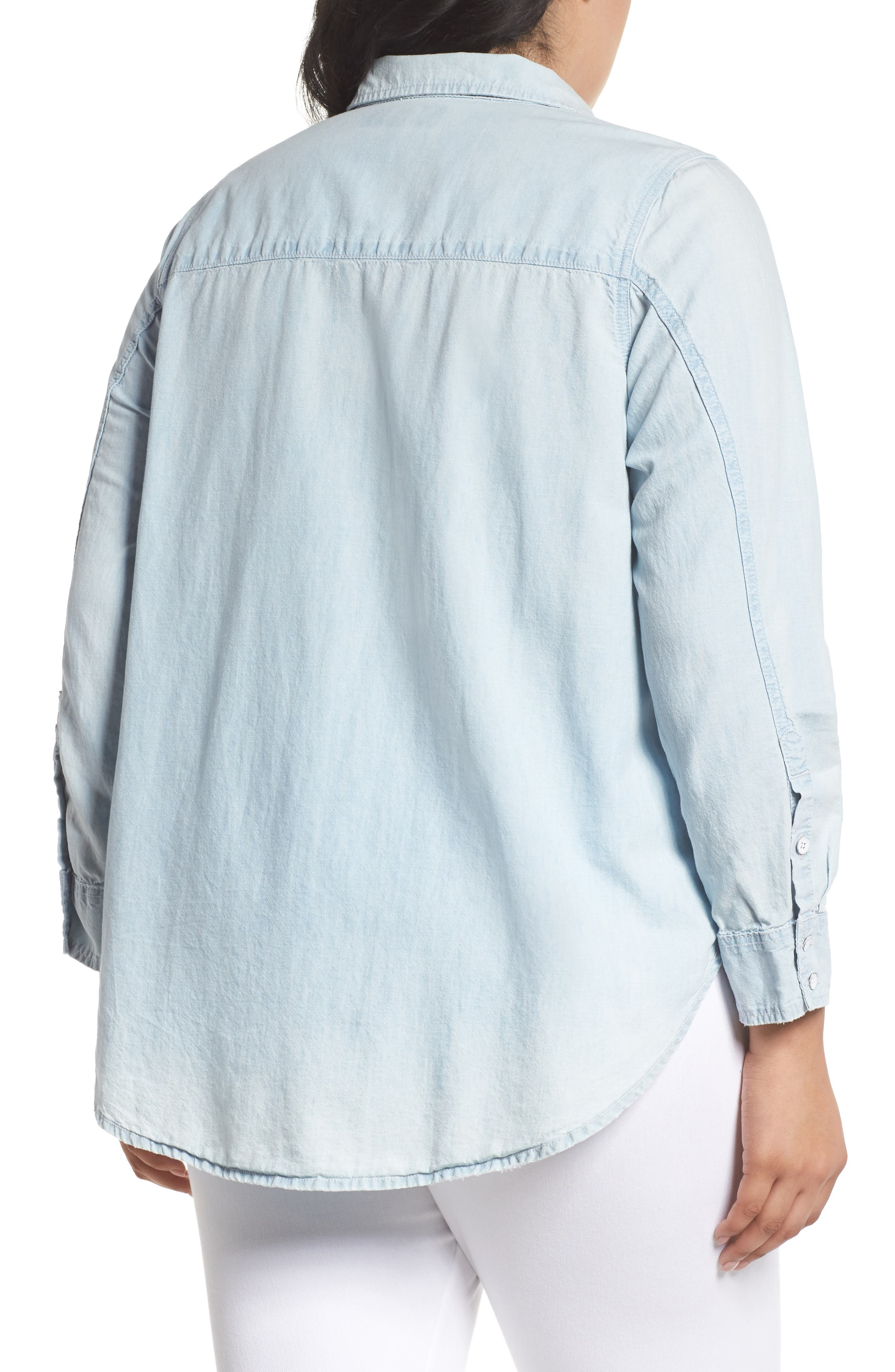 Denim Appliqué Chambray Shirt,                             Alternate thumbnail 2, color,                             450