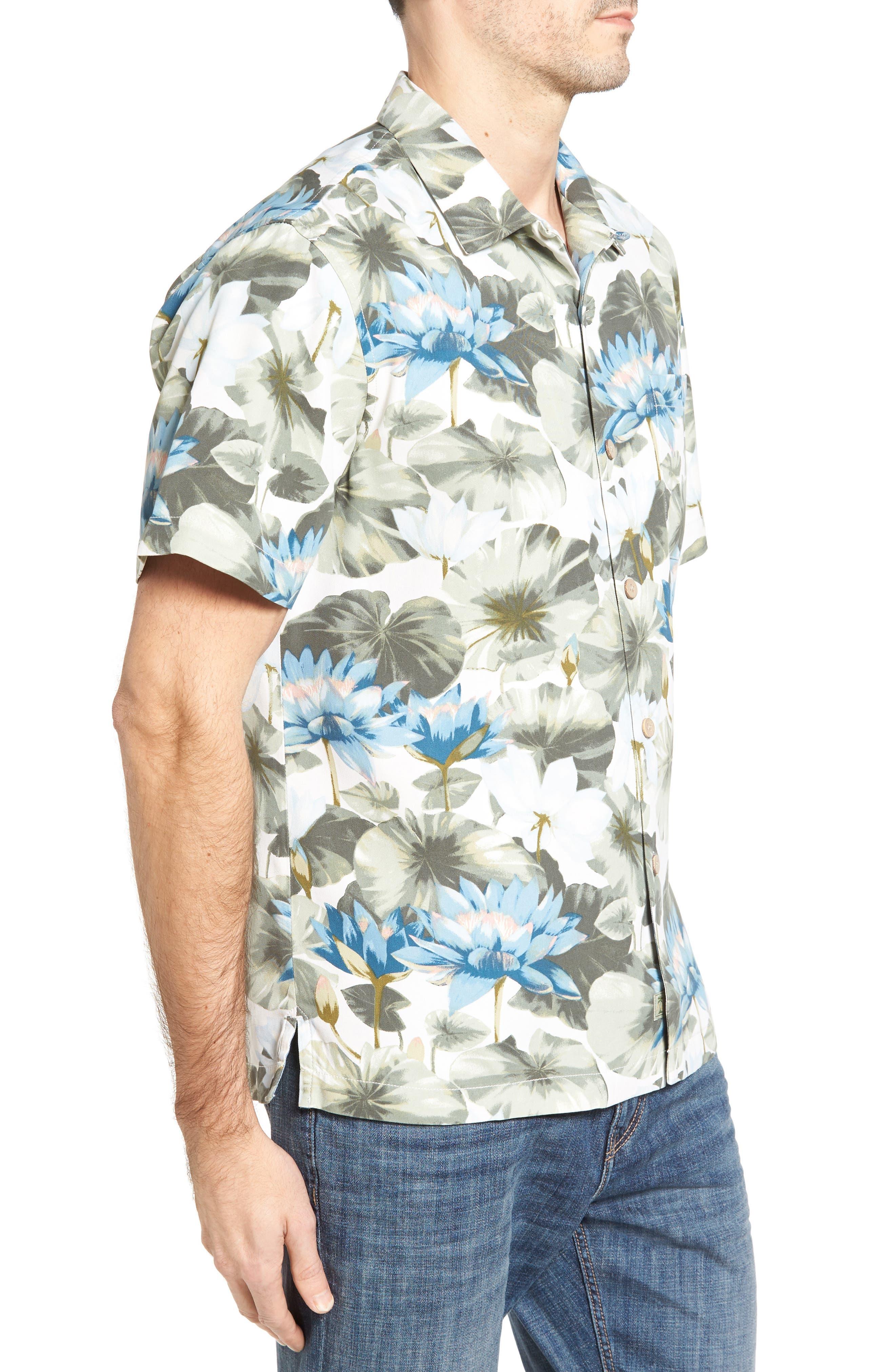Lagoon Lotus Original Fit Silk Camp Shirt,                             Alternate thumbnail 3, color,                             100