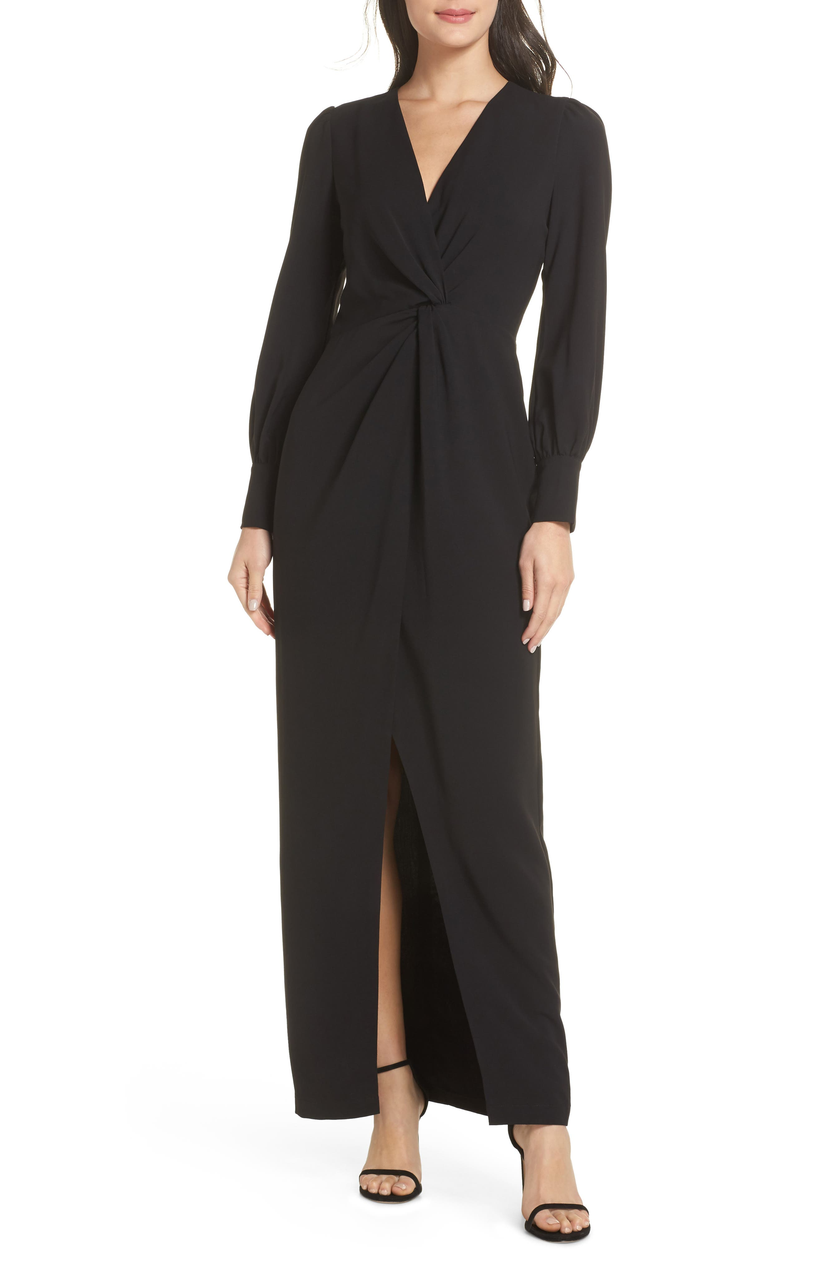 HARLYN Twist Front Faux Wrap Gown in Black