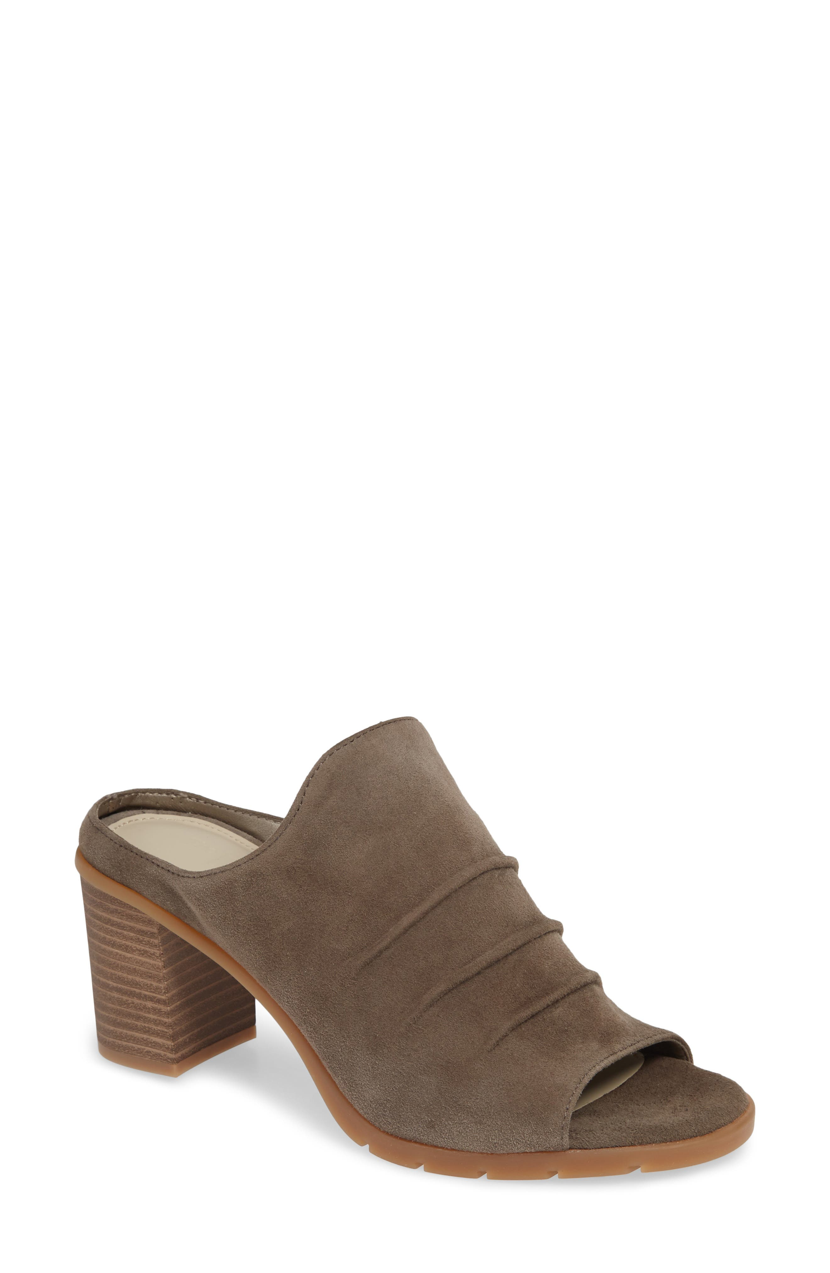 Aim to Pleat Mule,                             Main thumbnail 1, color,                             BROWN LEATHER