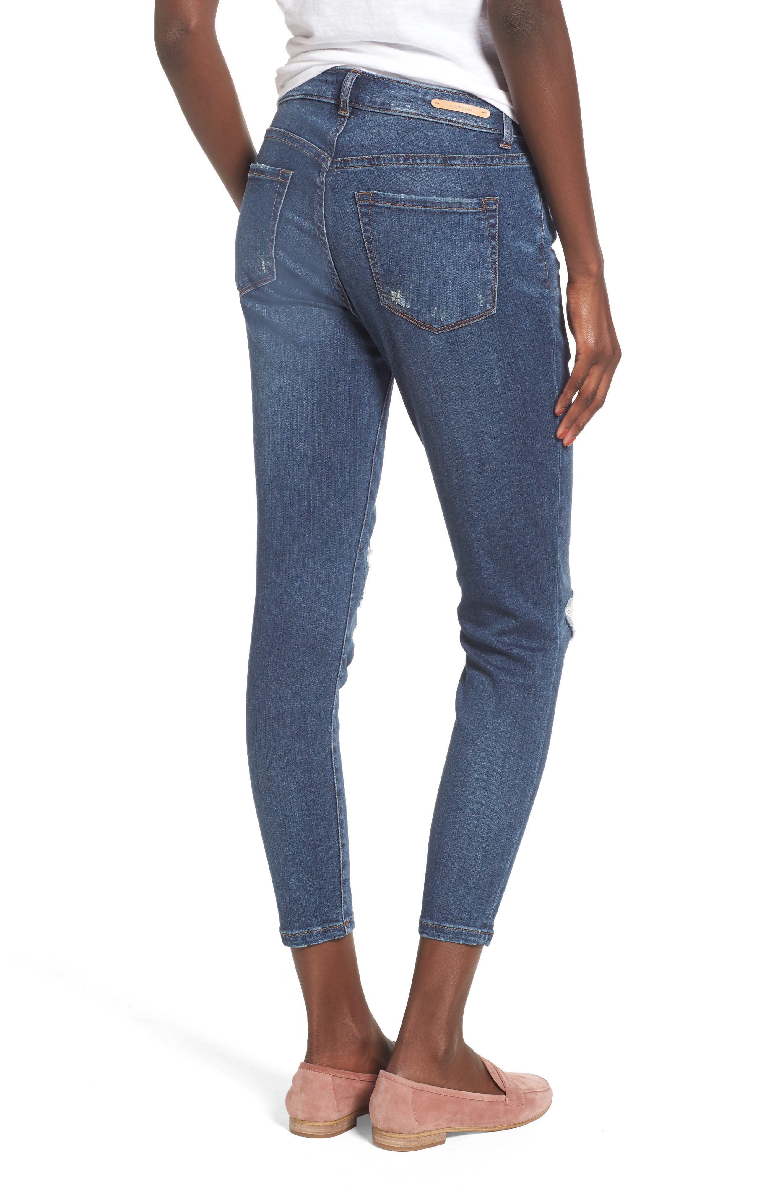 Rip & Repair Ankle Skinny Jeans,                             Alternate thumbnail 2, color,                             420
