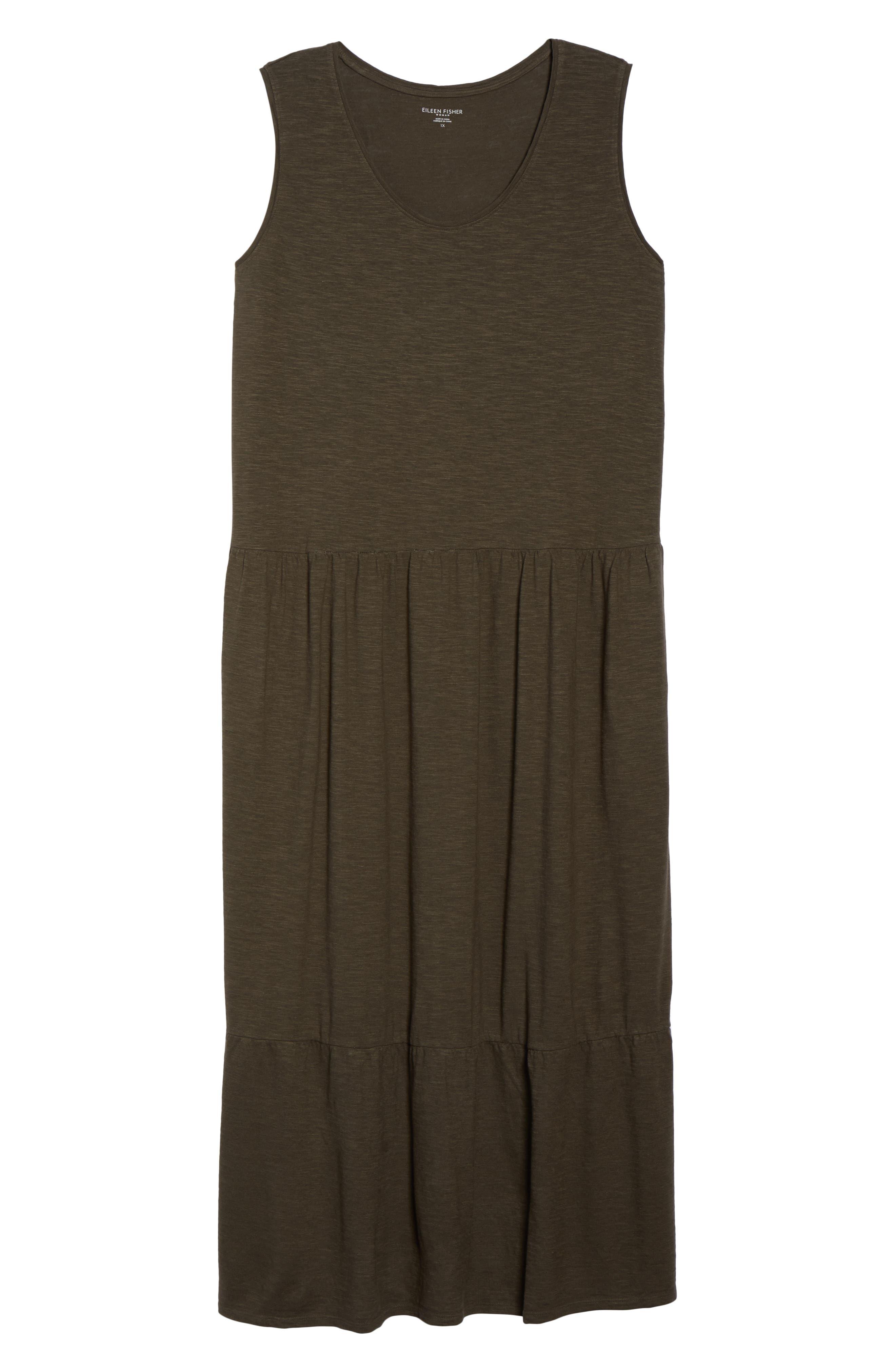 Scooped Neck Hemp & Cotton Midi Dress,                             Alternate thumbnail 7, color,                             359