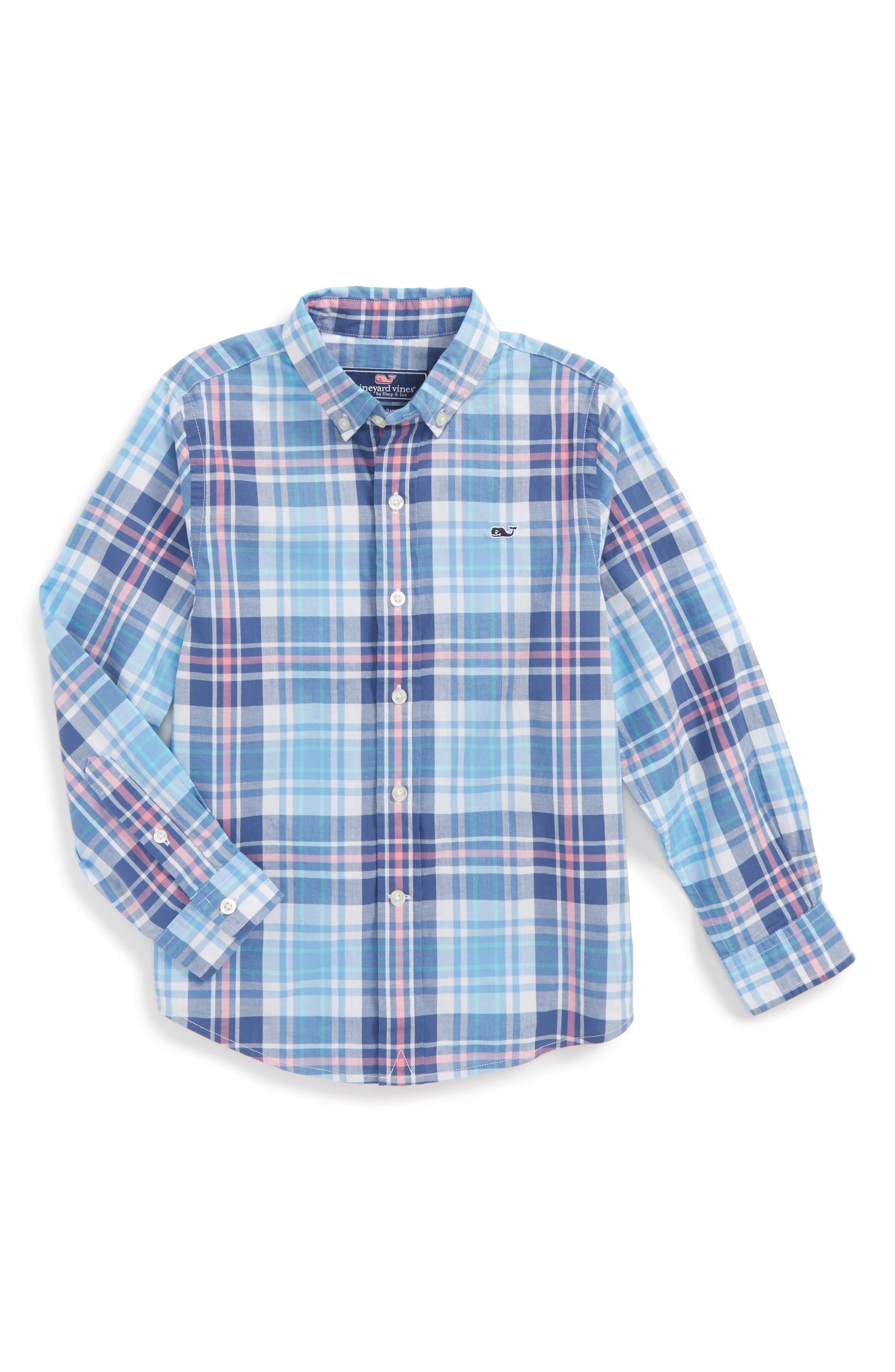 Fort Sumter Plaid Whale Shirt,                         Main,                         color, 406
