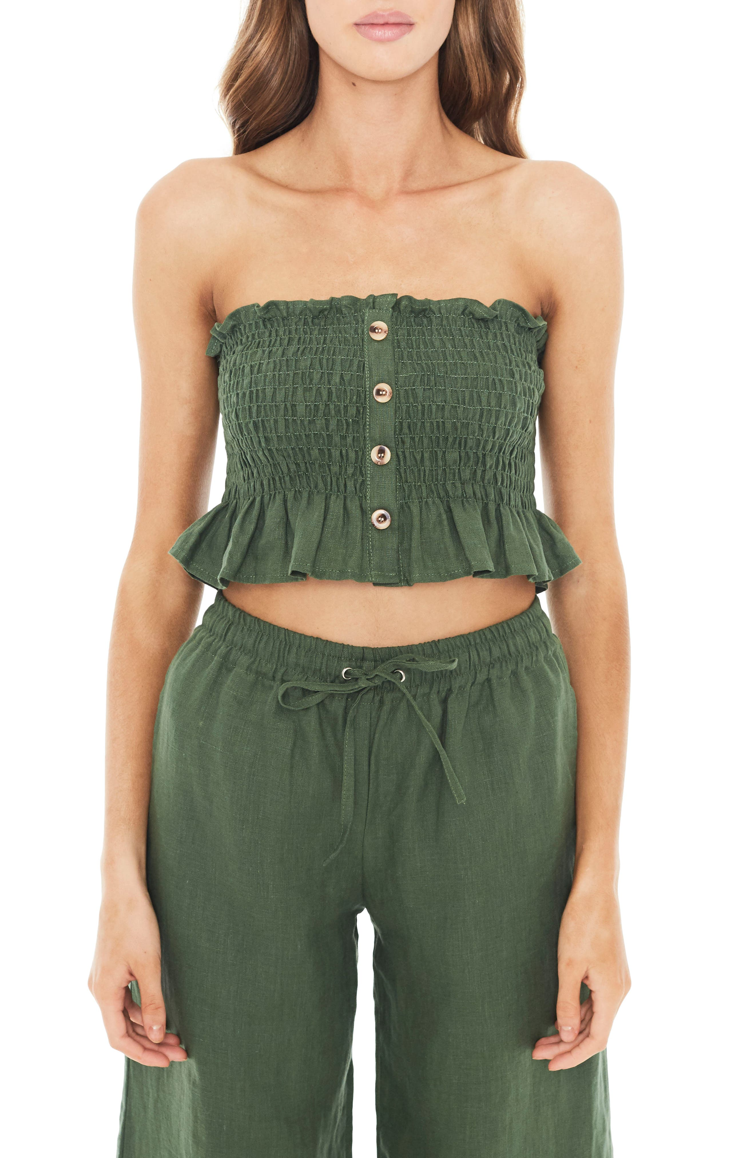 Sloane Smocked Linen Crop Top,                             Main thumbnail 1, color,                             300
