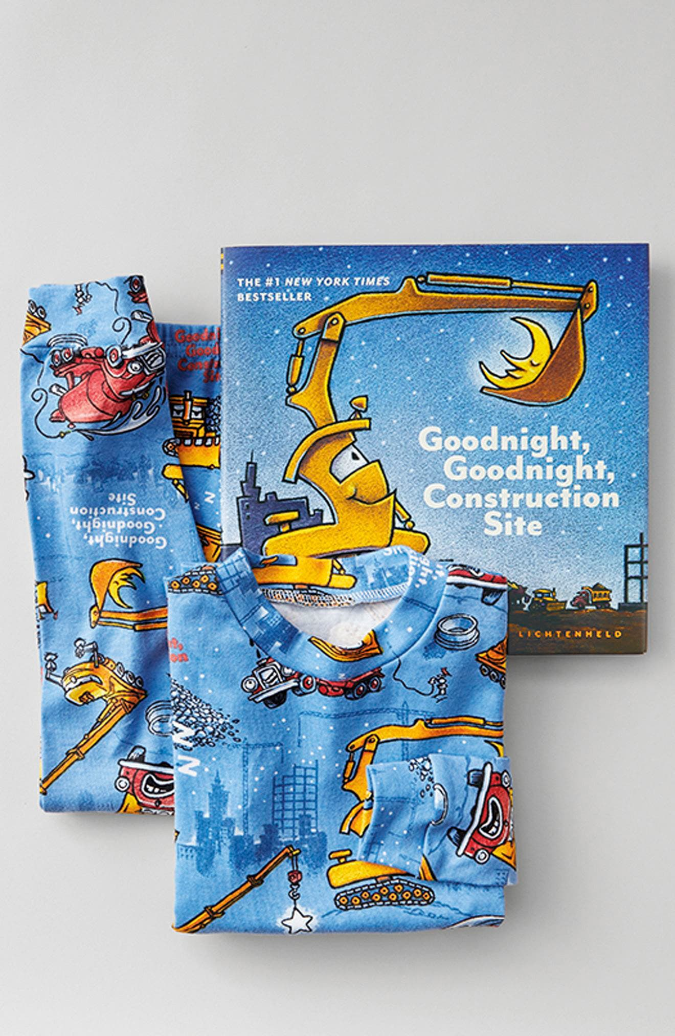 Goodnight Construction Site Fitted Two-Piece Pajamas & Book Set,                             Alternate thumbnail 4, color,