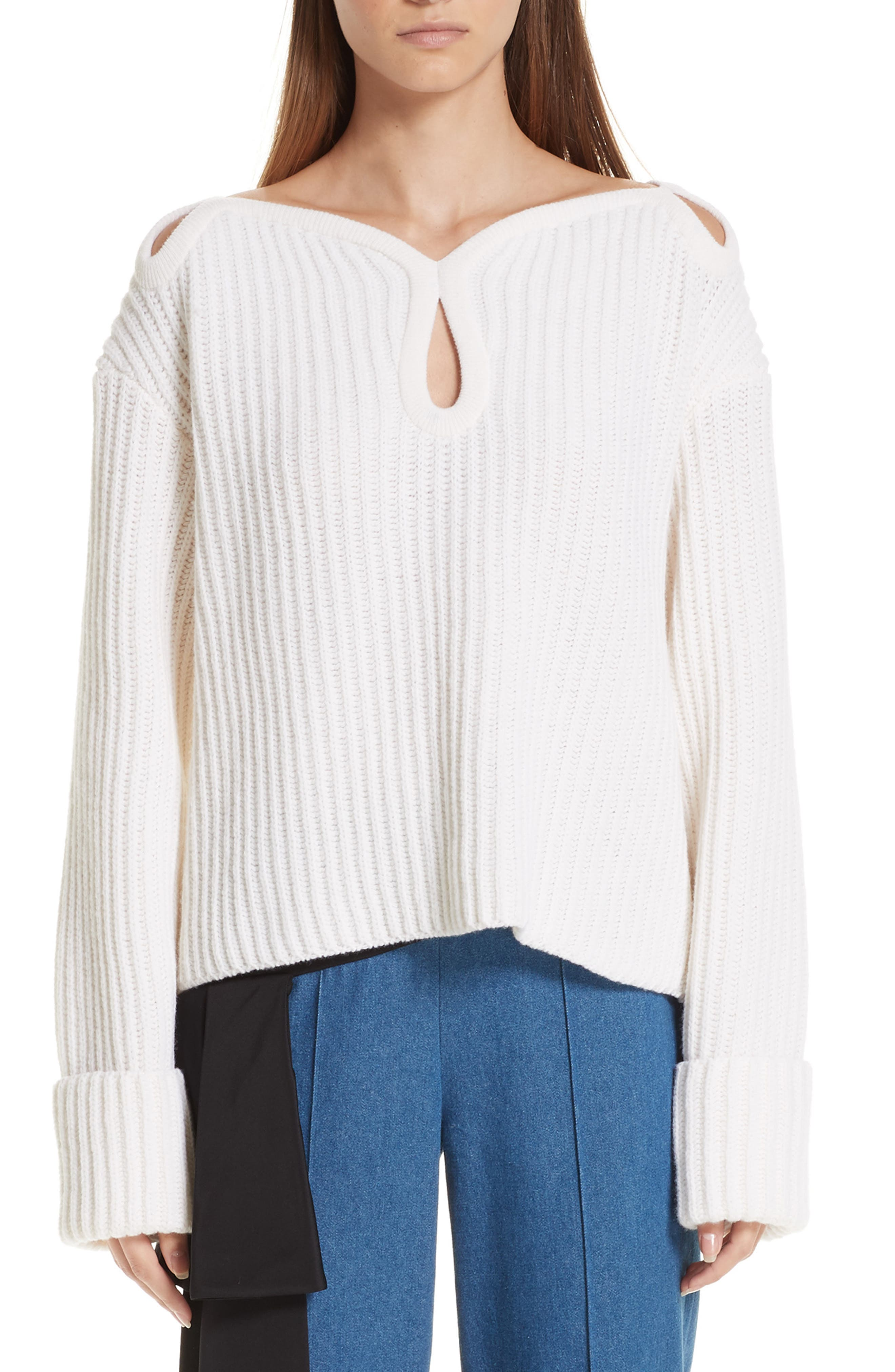 Hellessy Keyhole Shoulder Merino Wool Sweater, White