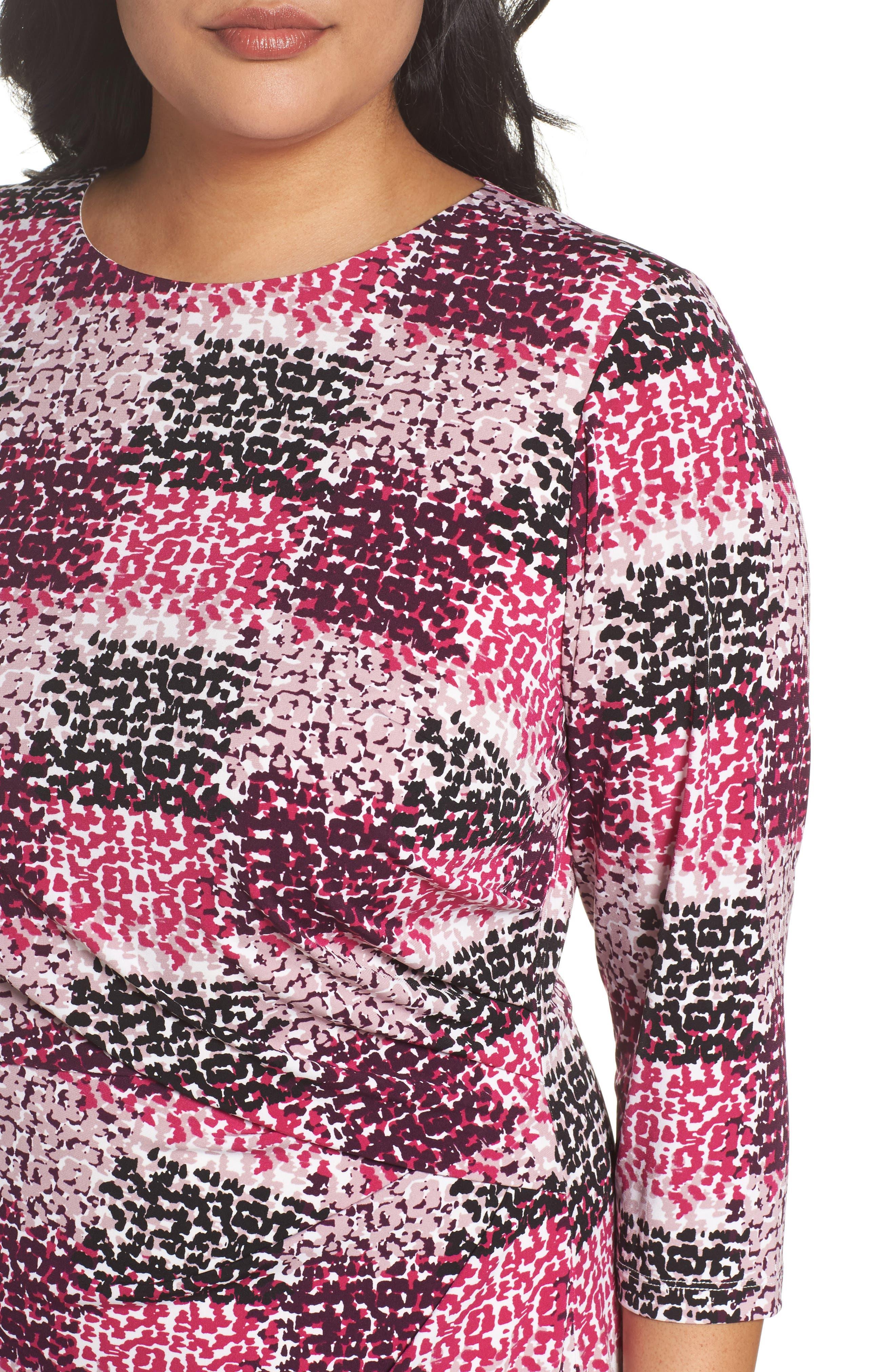 Print Jersey Side Tuck Sheath Dress,                             Alternate thumbnail 4, color,                             465