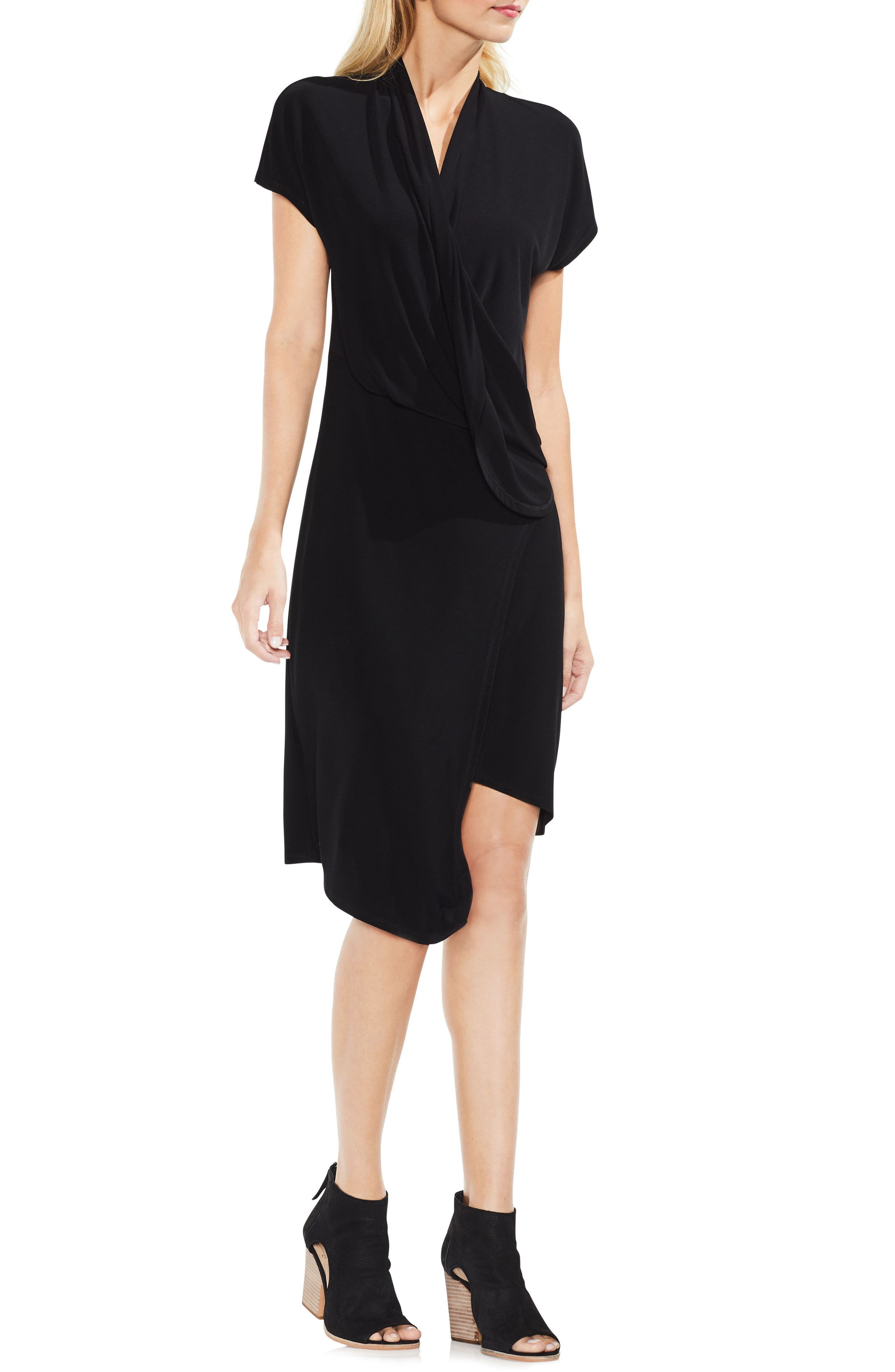 Vince Camuto Cap Sleeve Drape Front Dress, Black