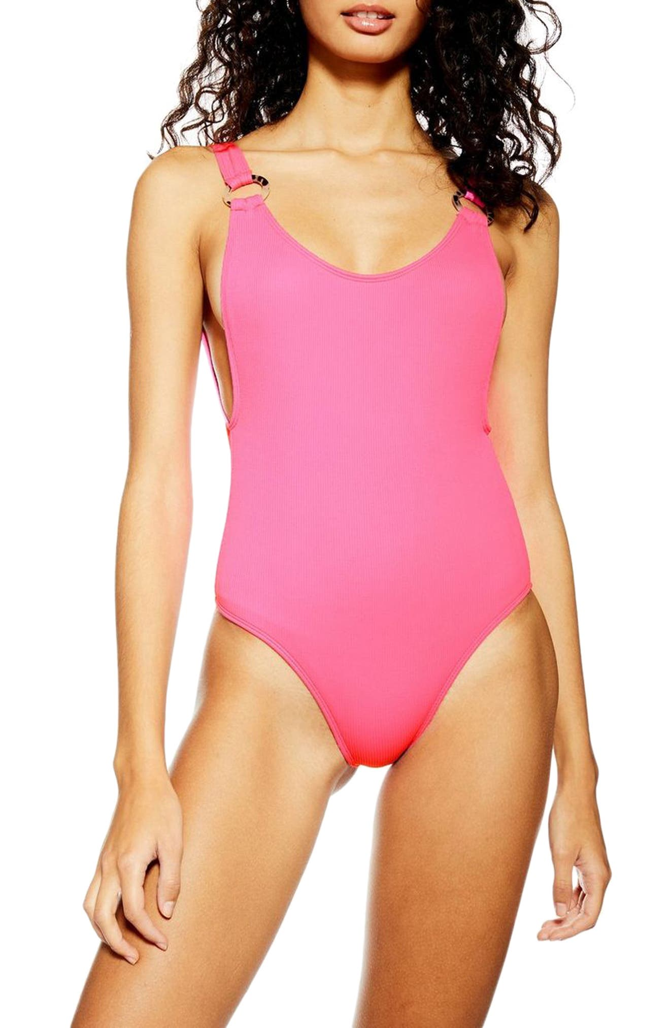 Topshop Ring Strap One-Piece Swimsuit, US (fits like 14) - Pink