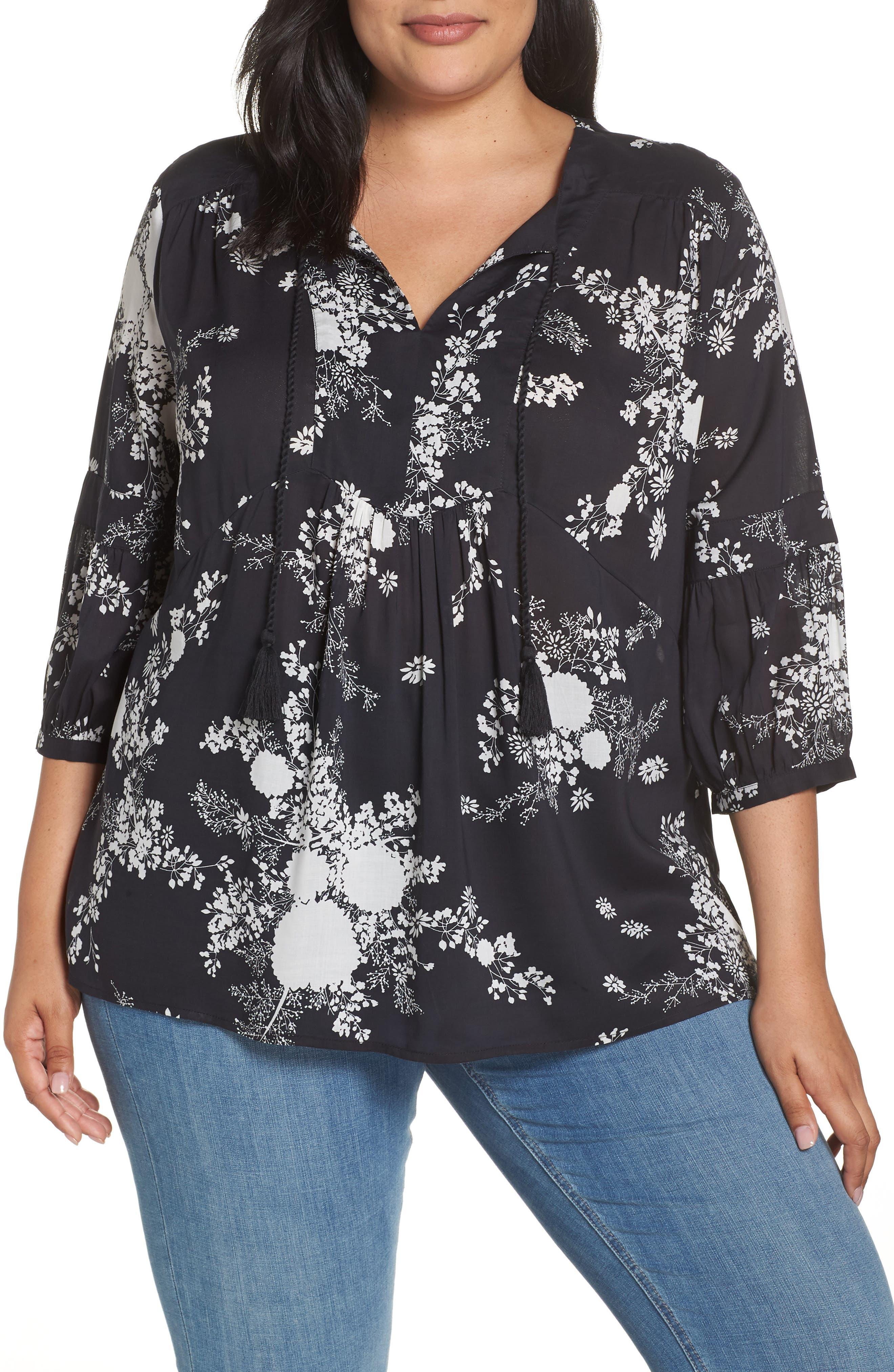 Floral Print Blouse,                         Main,                         color, BLACK BLOOM FLORAL