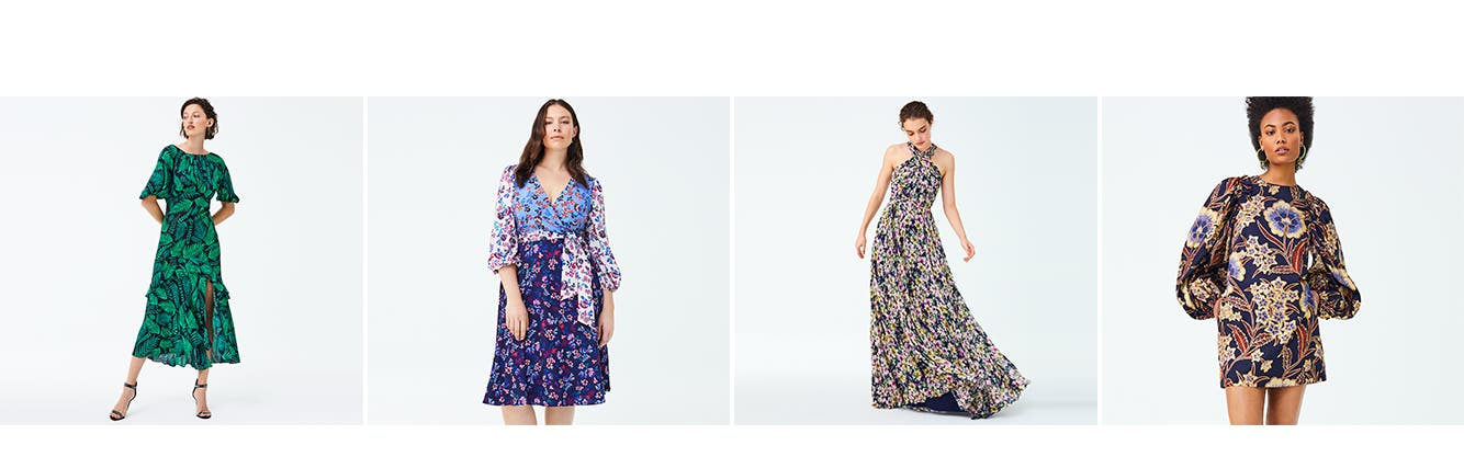 Now in print: women's dresses.