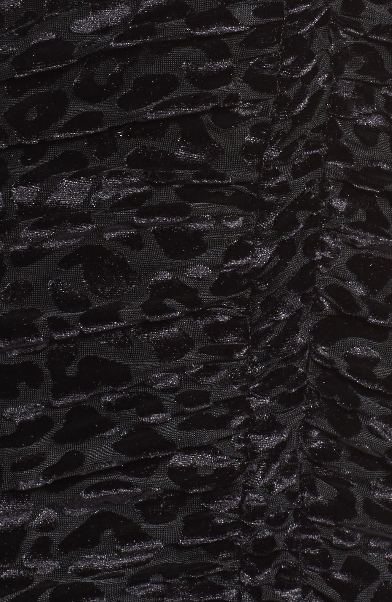 Leopard Velvet Mesh Body-Con Dress,                             Alternate thumbnail 5, color,                             001