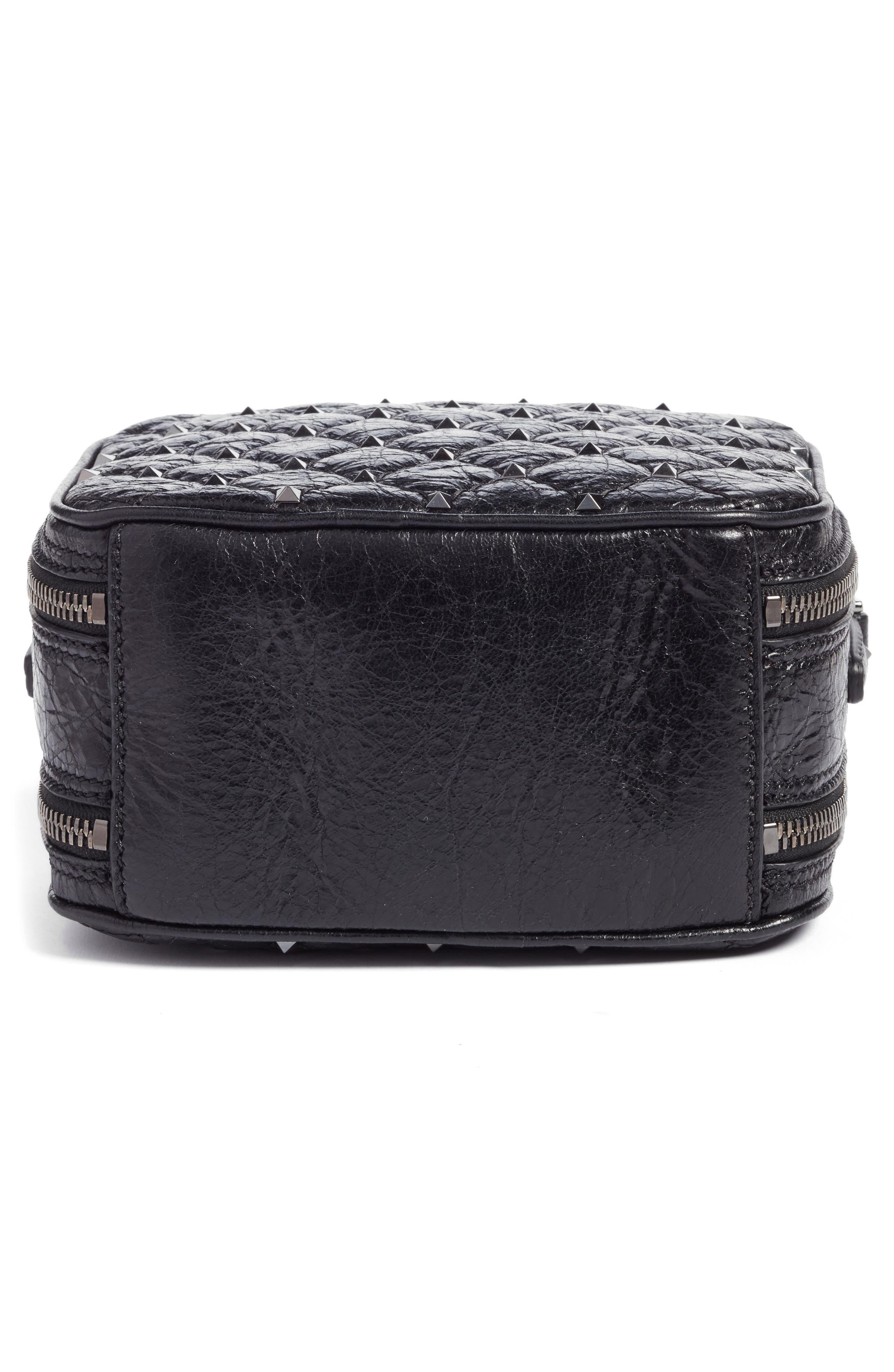 Rockstud Leather Camera Crossbody Bag,                             Alternate thumbnail 6, color,                             001