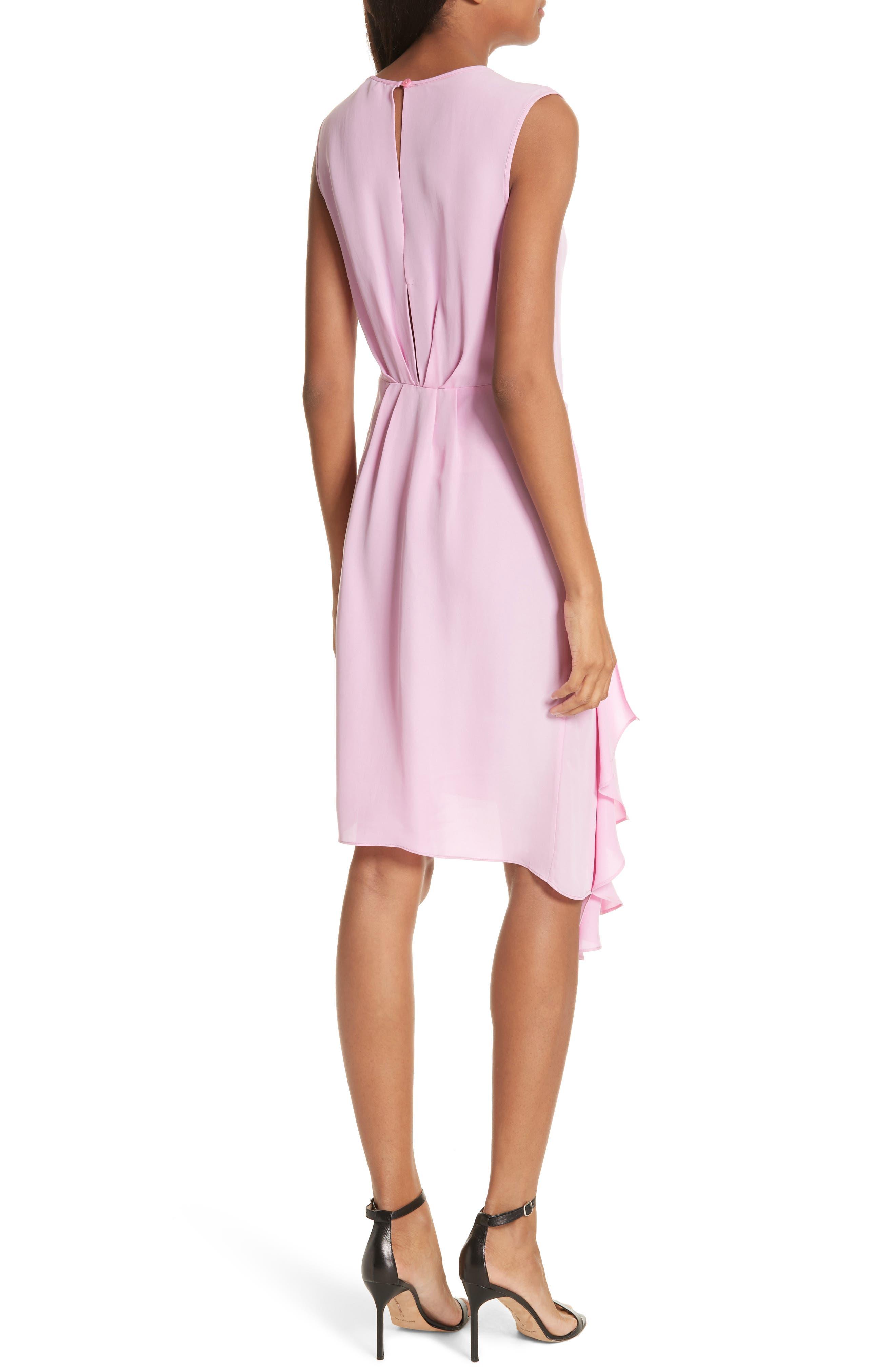 Rachael Front Drape Dress,                             Alternate thumbnail 2, color,                             BUBBLEGUM