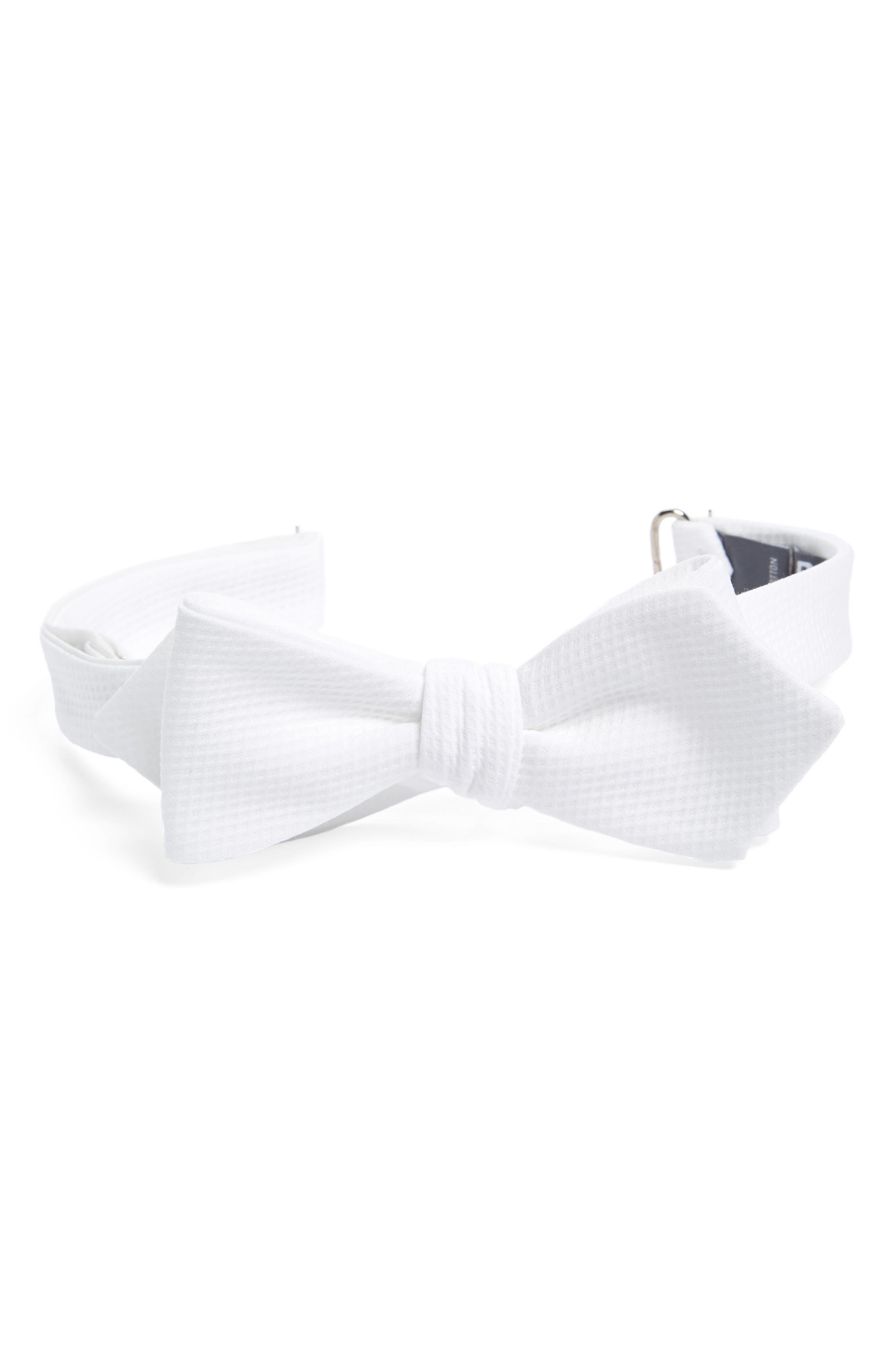 Piqué Cotton Bow Tie,                             Main thumbnail 1, color,                             WHITE