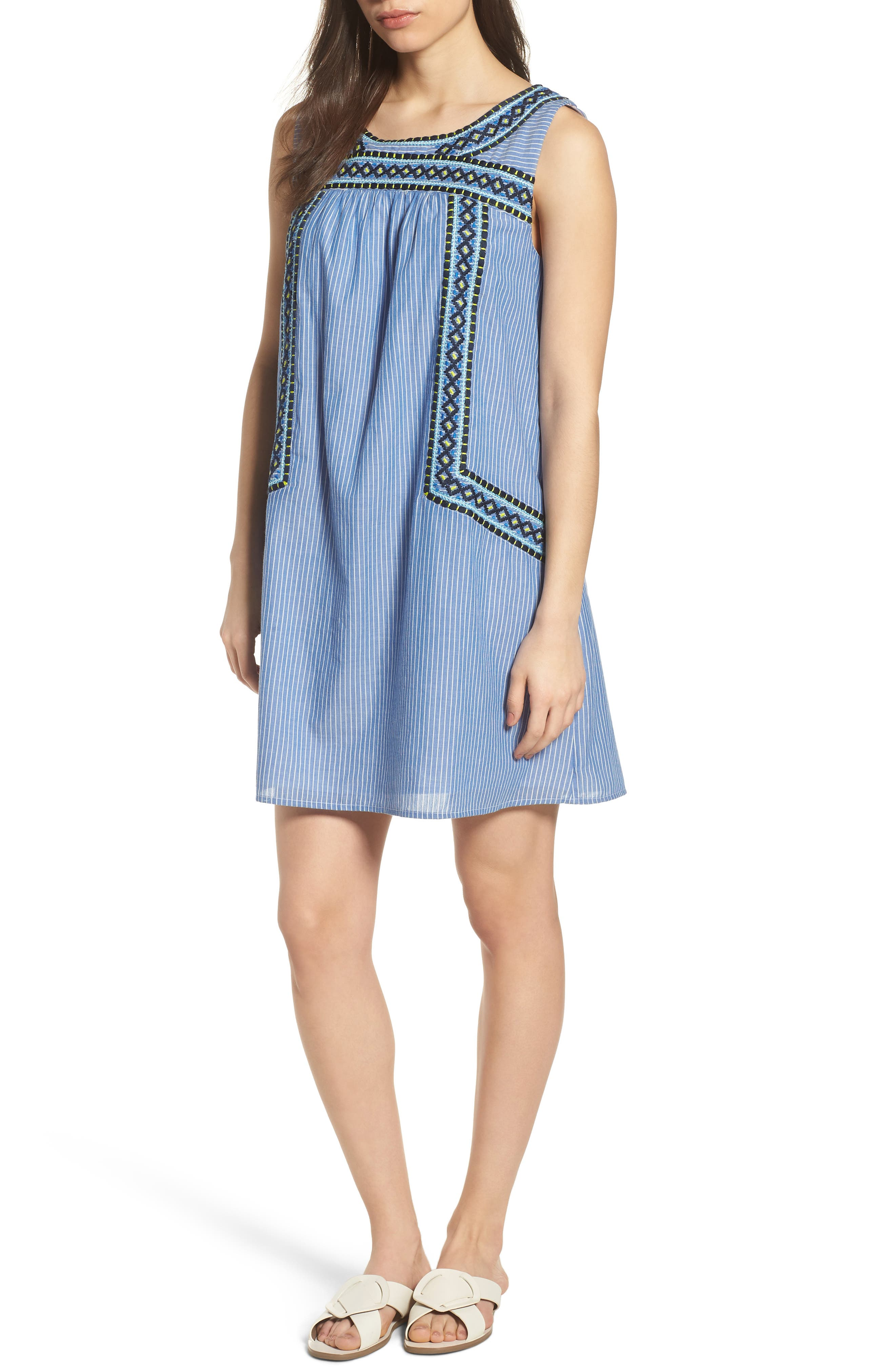 Embroidered Stripe Cotton Swing Dress,                             Main thumbnail 1, color,