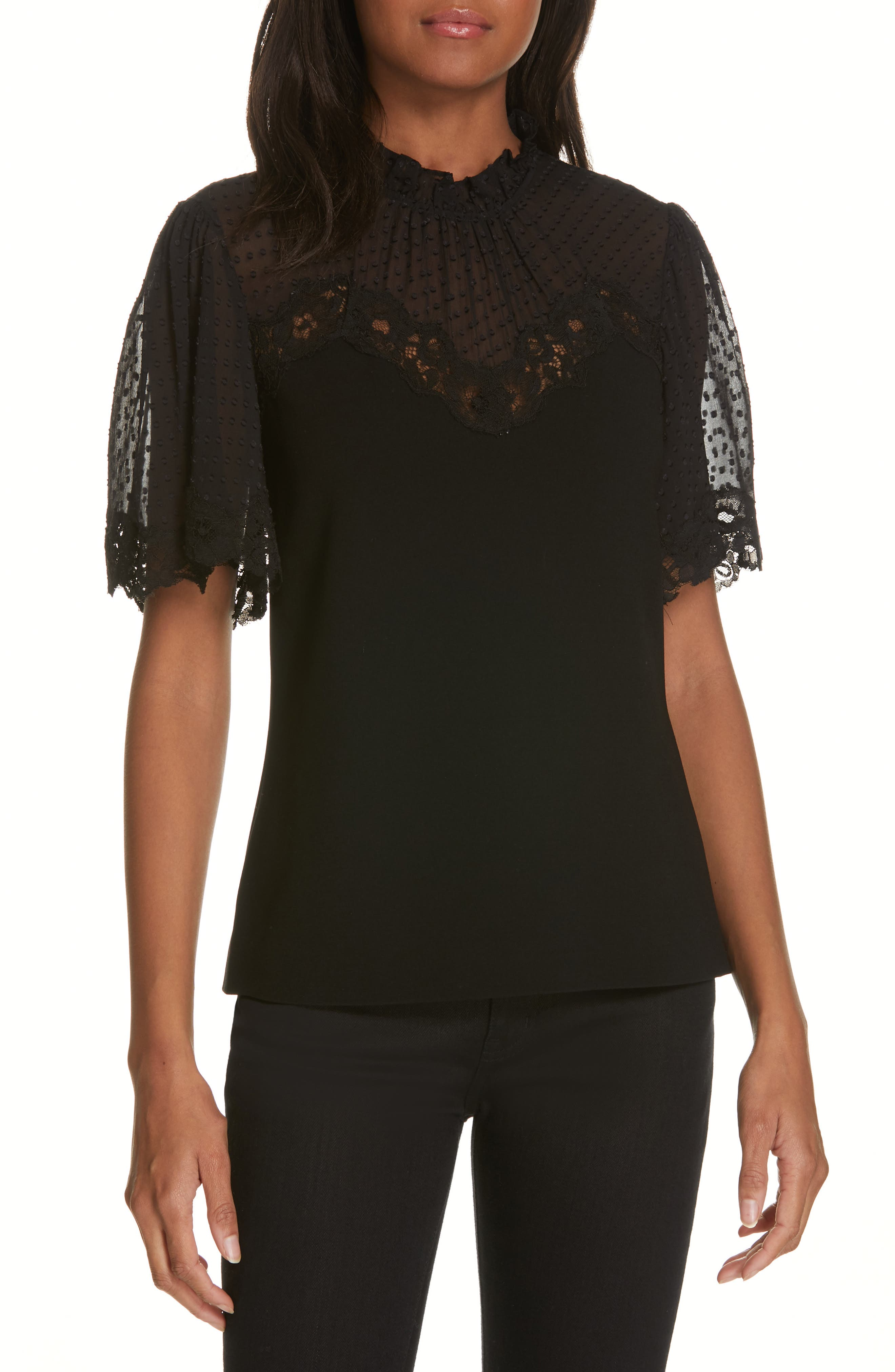 REBECCA TAYLOR Short-Sleeve Crepe High-Neck Lace Top in Black