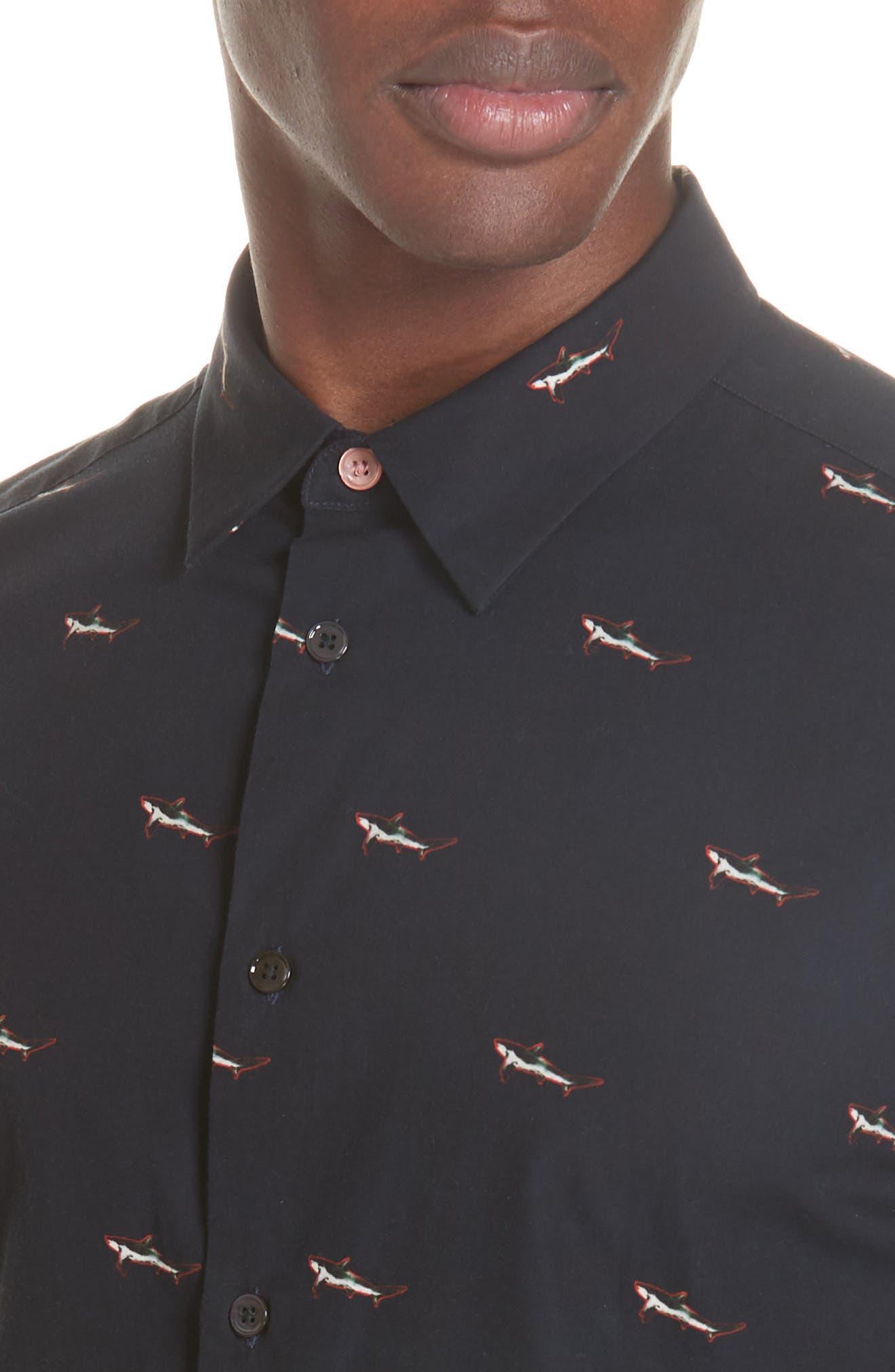 Shark Print Sport Shirt,                             Alternate thumbnail 2, color,                             419