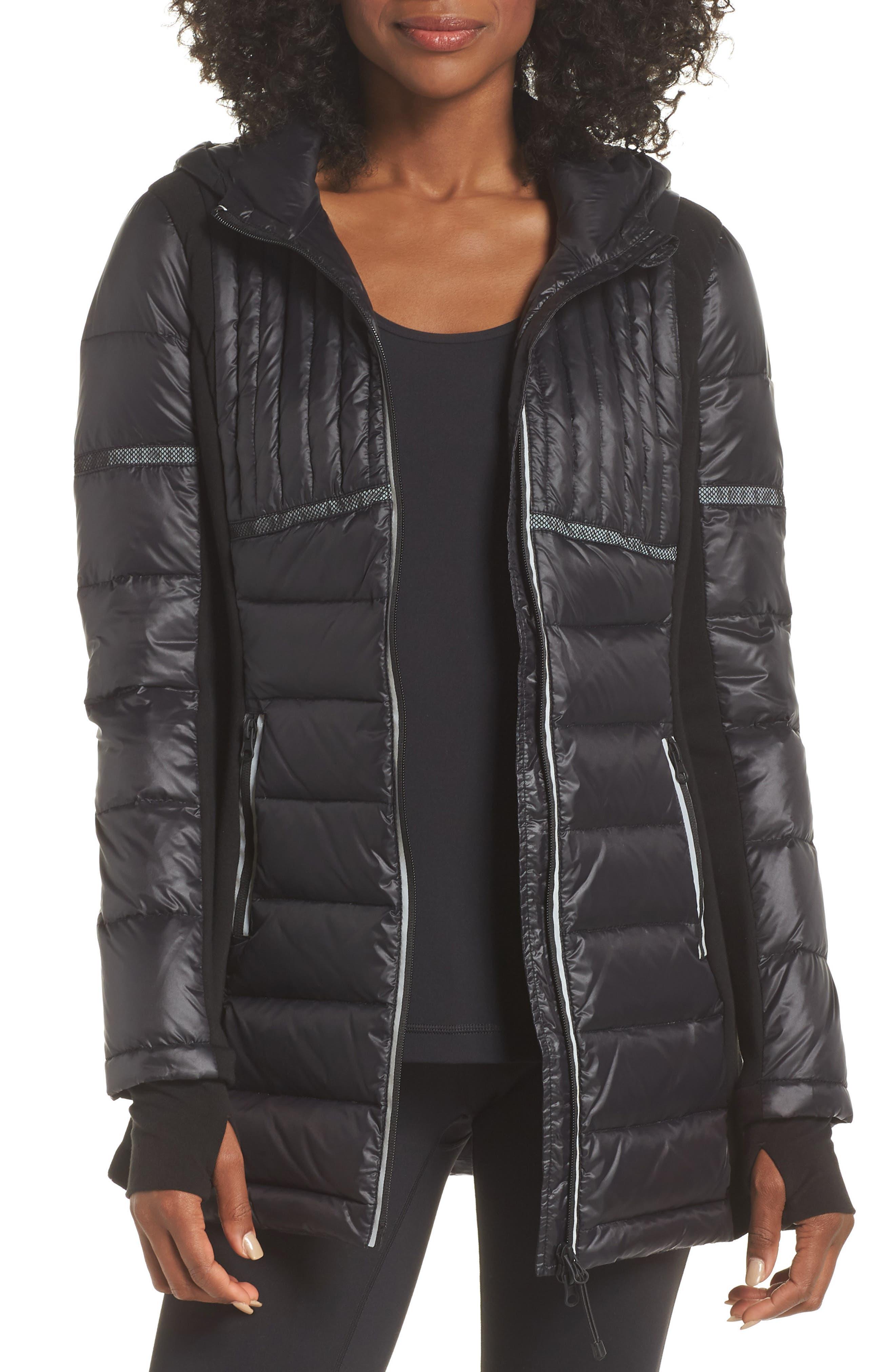 Reflective Down Puffer Jacket,                         Main,                         color, BLACK/ BLACK